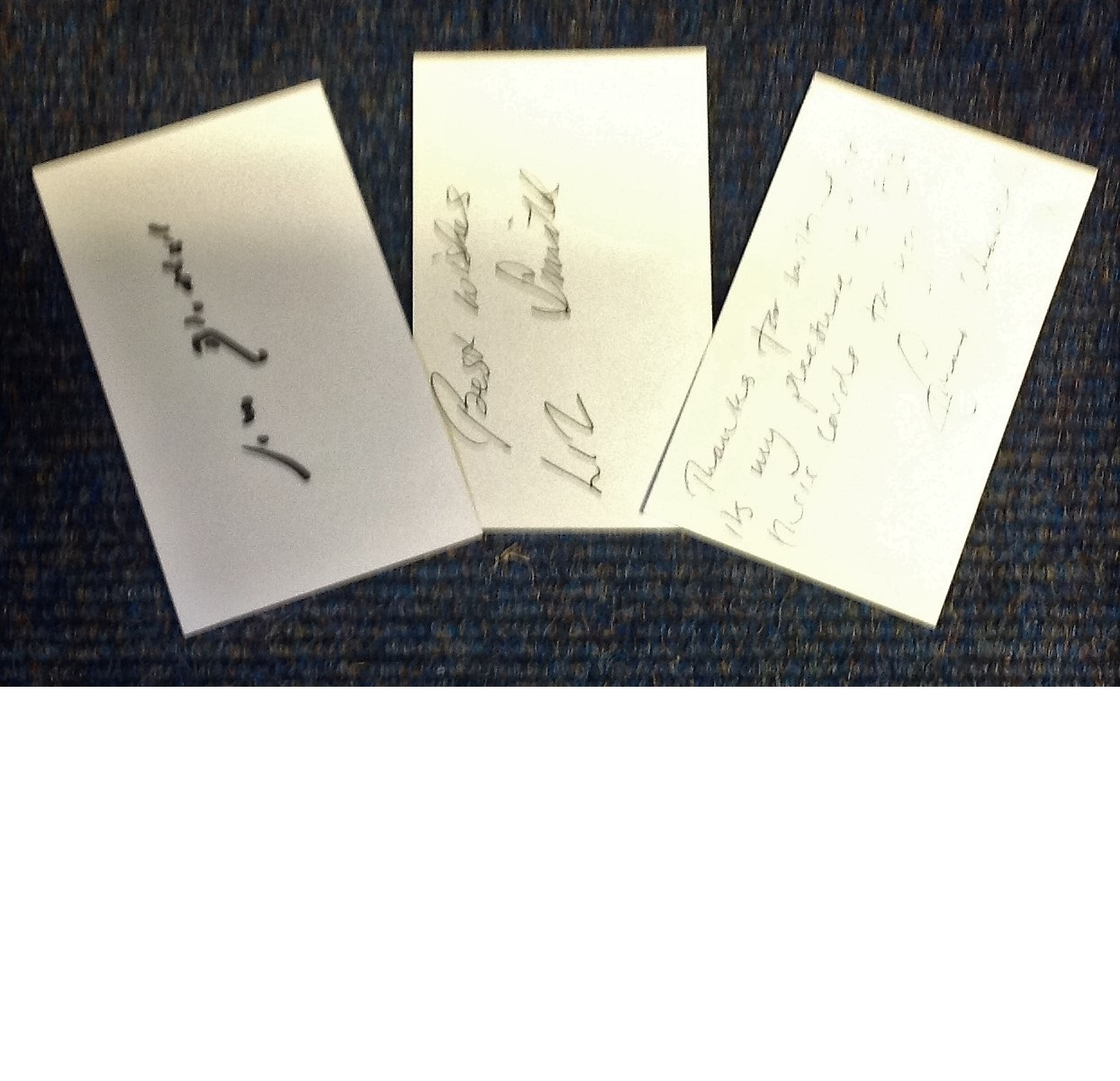 Lot 23 - Vicar of Dibley signed white card collection. 3 cards signed by John Bluthal, Emma Chambers and