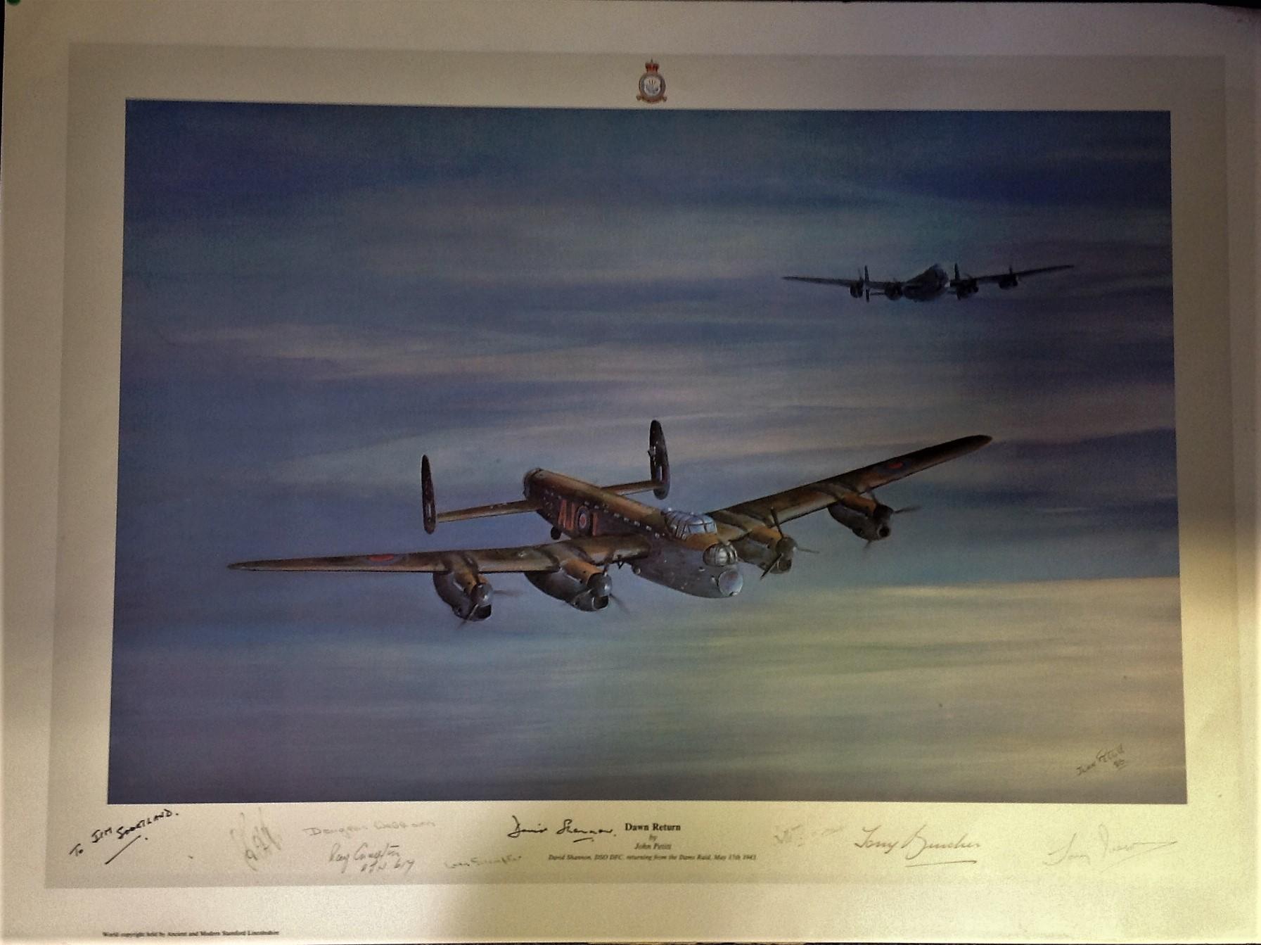 Lot 57 - Dambuster World War Two print 19x27 titled Dawn Return by the artist John Pettit pictured David
