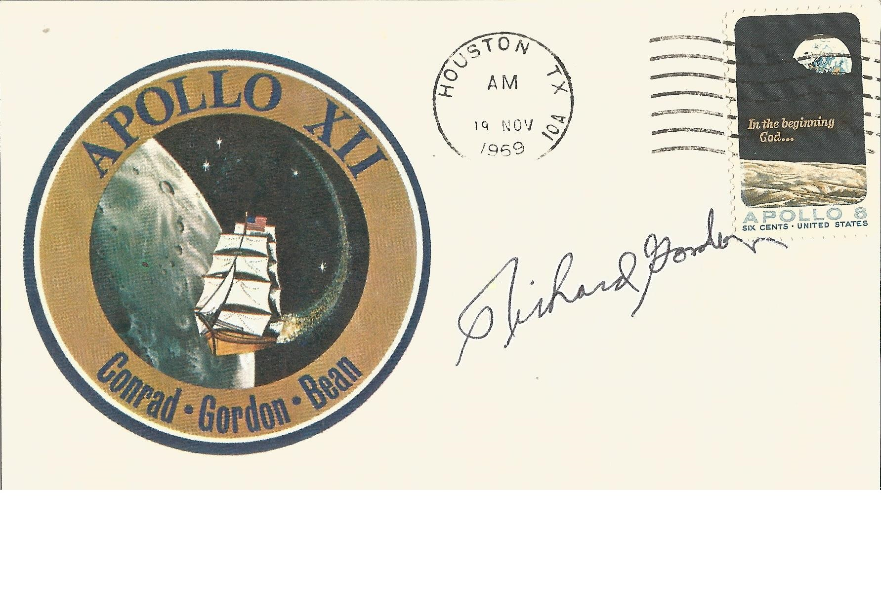 Lot 40 - Apollo XII NASA Astronaut Richard Gordon signed 1969 Mission card, with mission badge and Houston