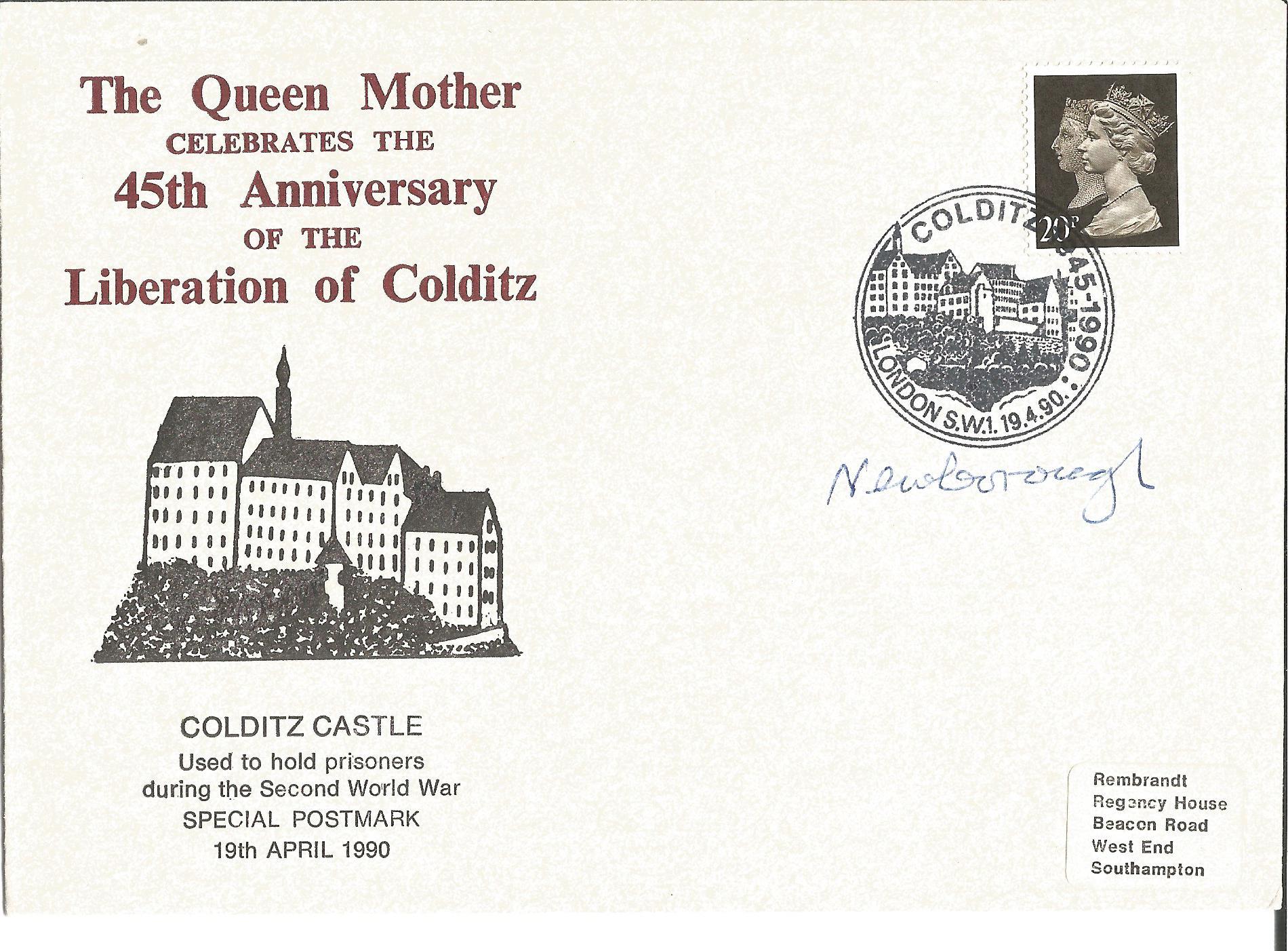Lot 57 - Lord Newborough signed 1990 Colditz Castle 45th ann cover. Good condition Est.