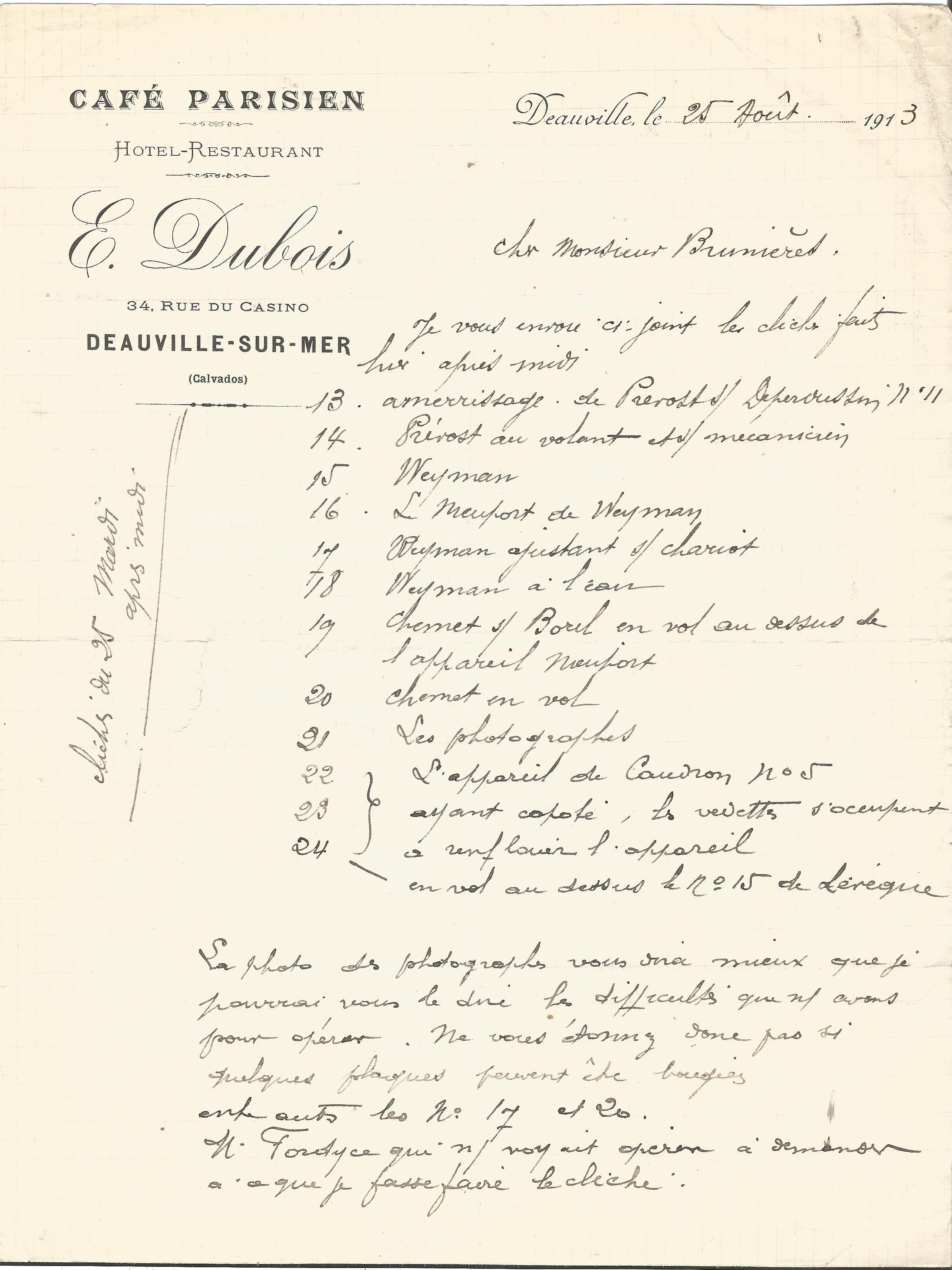 Lot 53 - 1913 Café Parisien hand written dinner menu. Good condition Est.