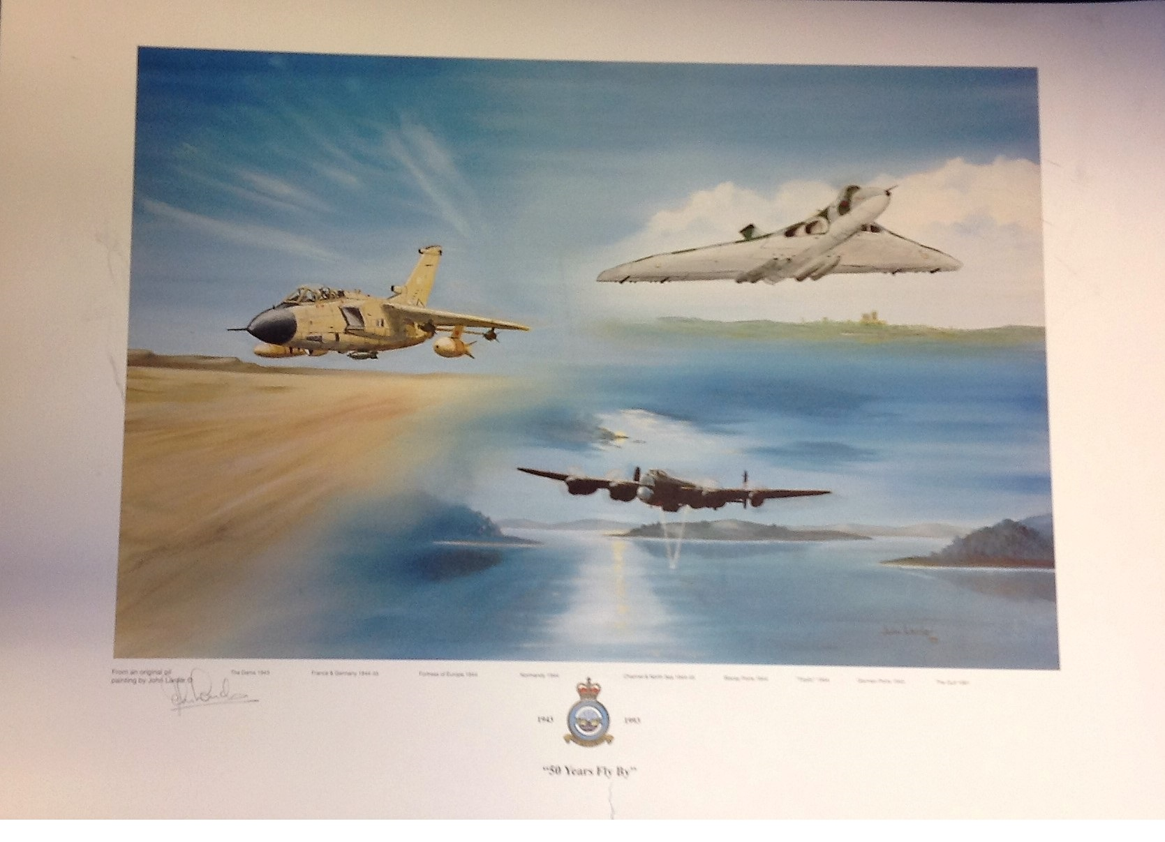 "Lot 116 - RAF association print approx 18x26 titled ""50 YEARS FLY BY"" by the artist John Larder signed in"