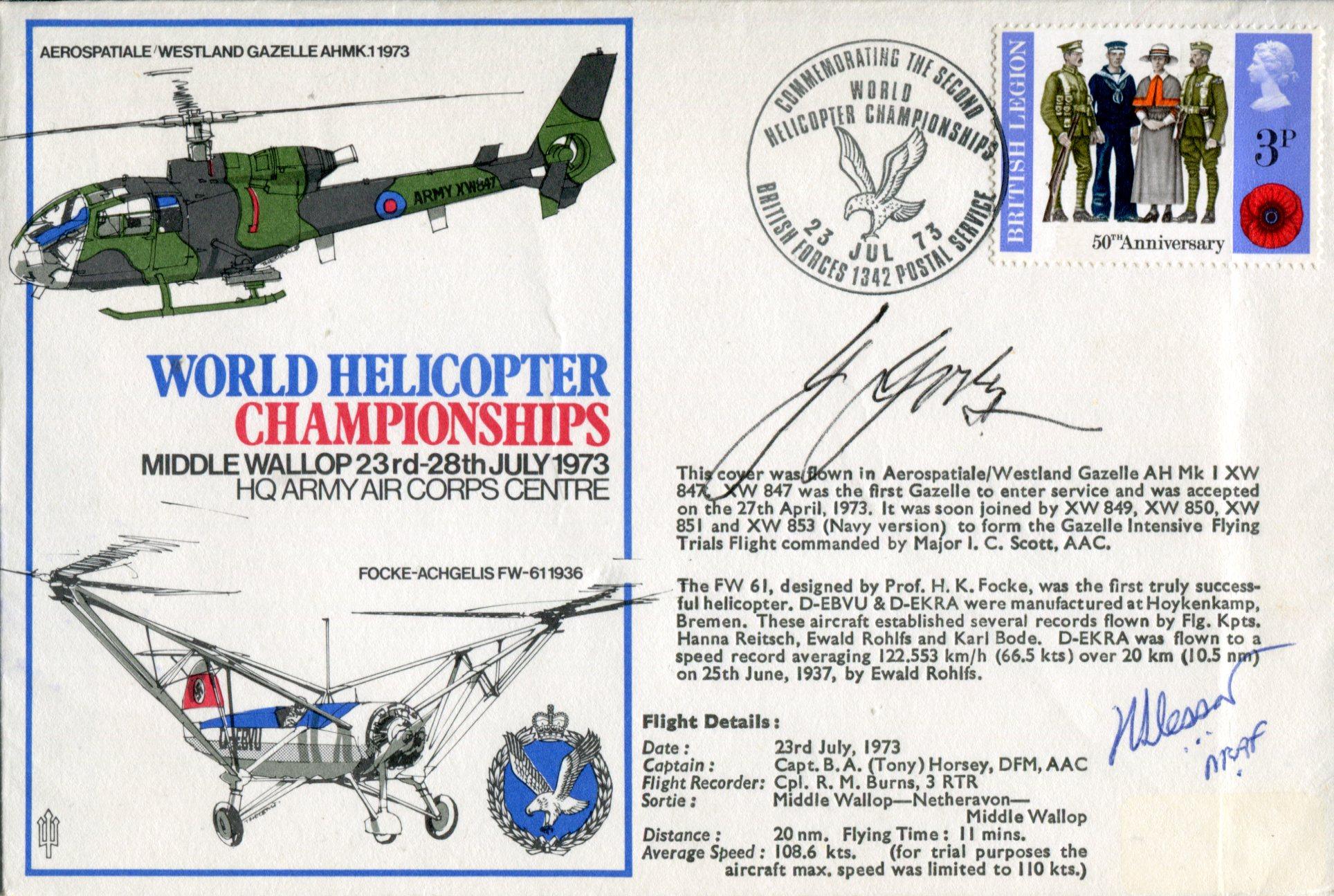 Lot 28 - Henrich Focke World Helicopter Championships cover signed by Henrich Focke, founder and designer for
