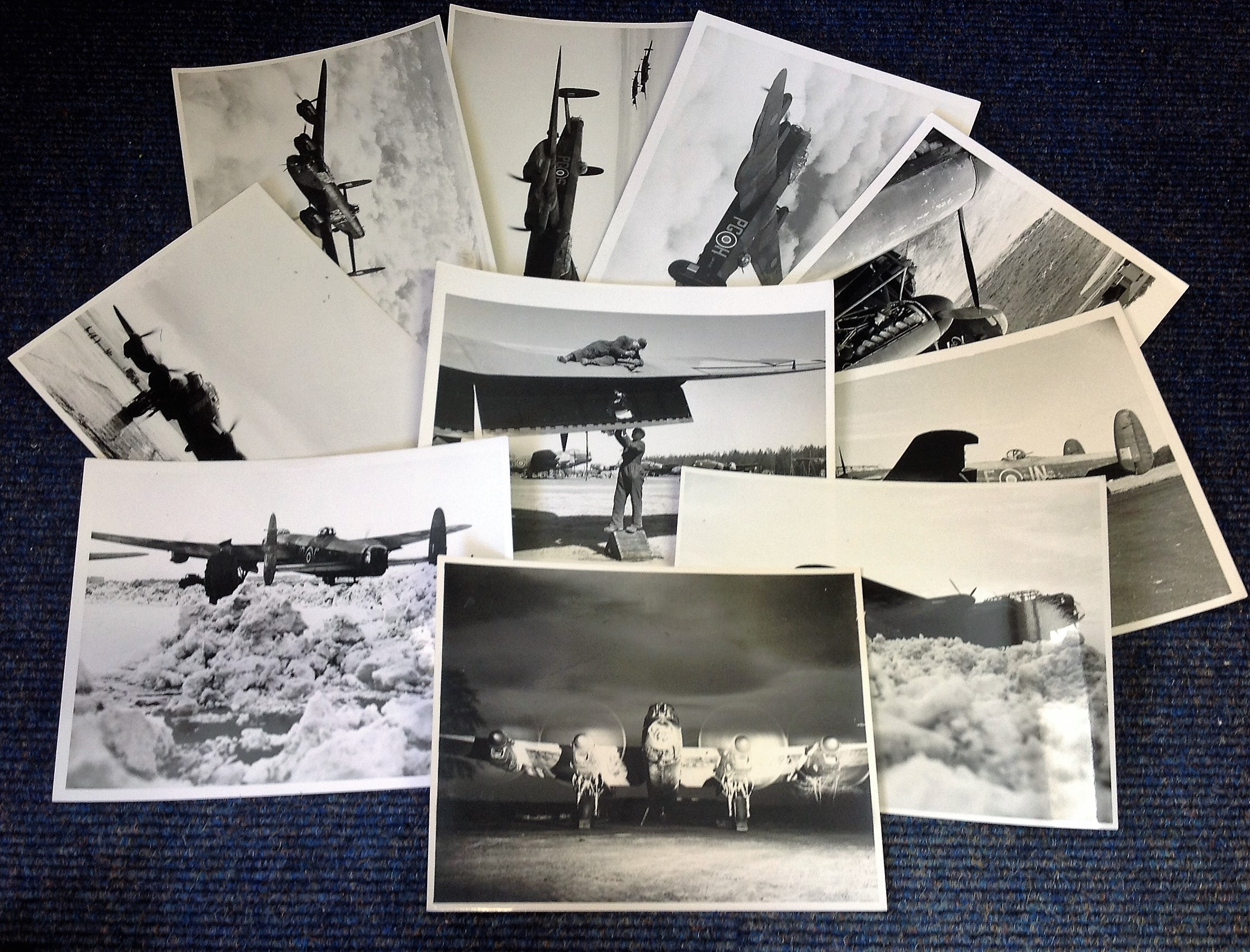 Lot 24 - World War Two ten 6x8 vintage b/w photos Avro Lancaster bomber pictured during World War Two. Good