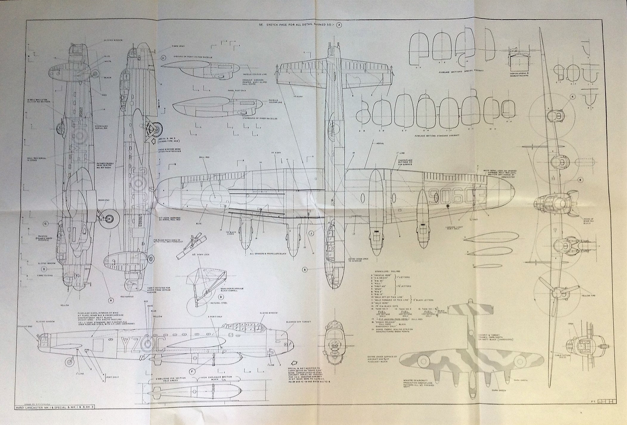Lot 40 - World War Two Avro Lancaster Bomber MK1 Spec 1/48 detailed scale drawings of the iconic world war