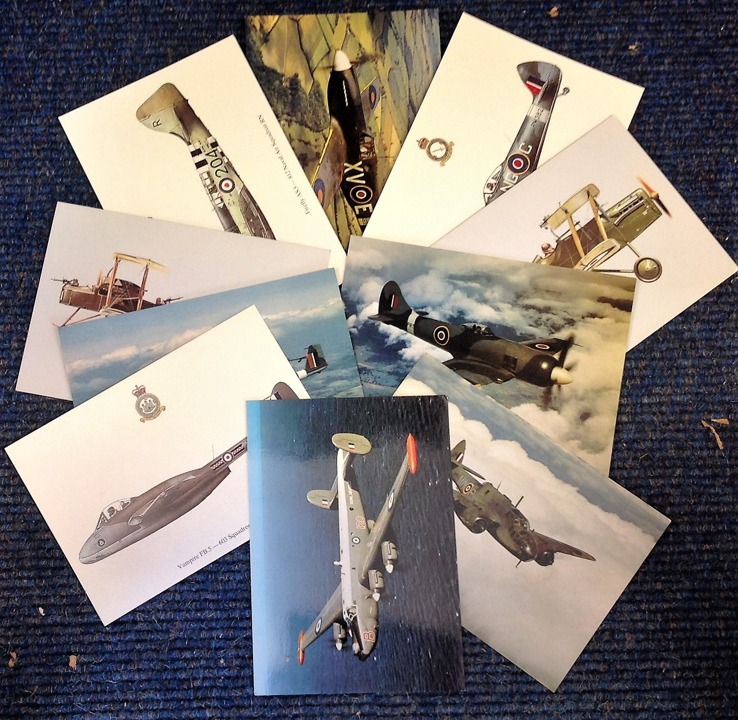 Lot 10 - Aviation postcard collection includes 10 squadron print cards such as North American Mustang I No