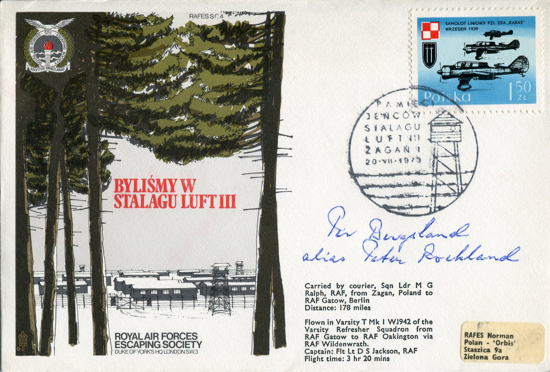 Lot 33 - Great Escaper Stalag Luft III cover signed by Per Bergsland, one of only three men to make 'home