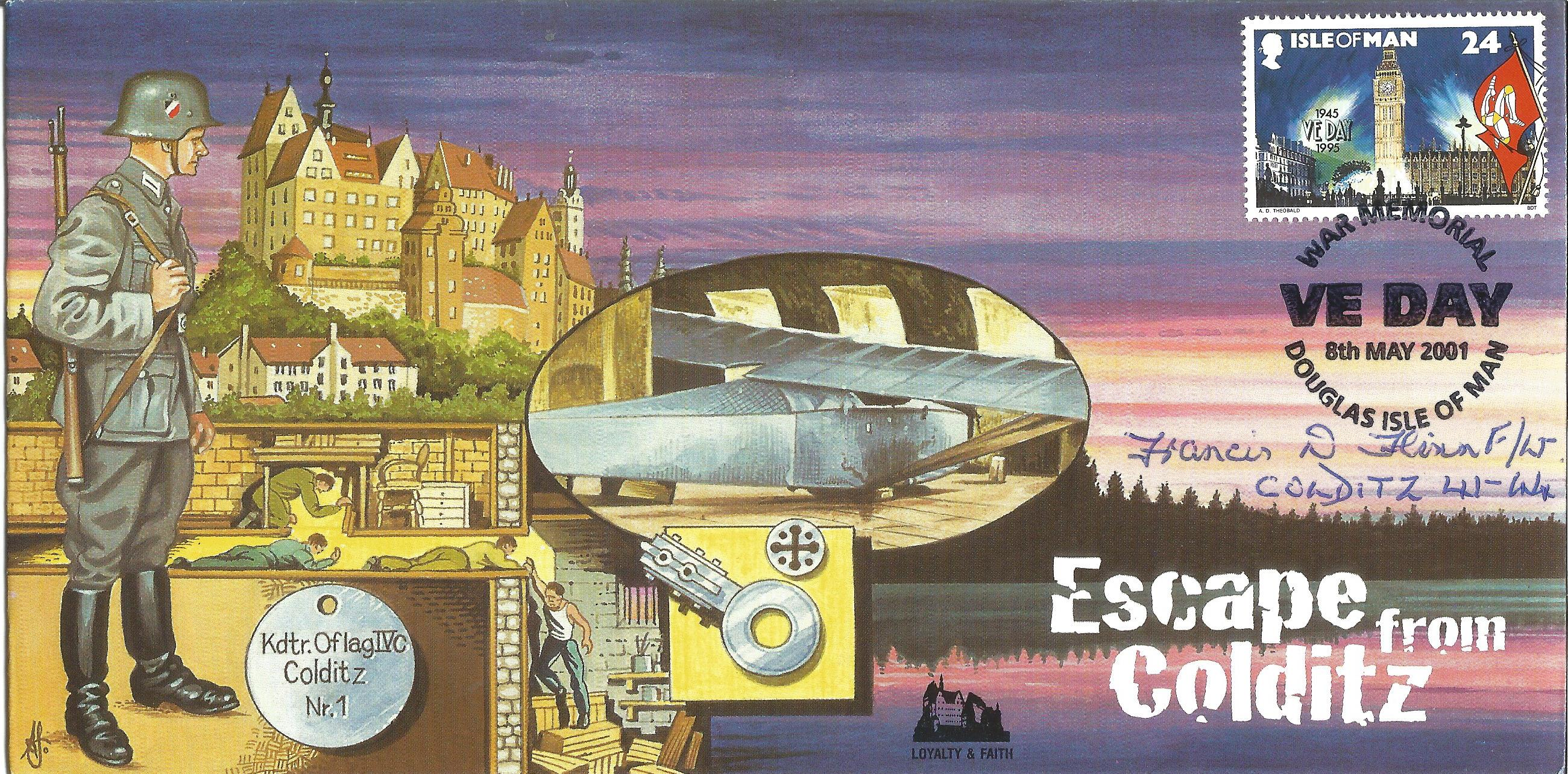 Lot 58 - Francis Flynn WW2 POW inmate signed 2001 Escape from Colditz Castle cover, only 16 issued. Good