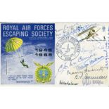 Lot 30 - WW2 SOE & Resistance RAF Escaping Society cover signed by TWELVE agents of the SOE or Resistance