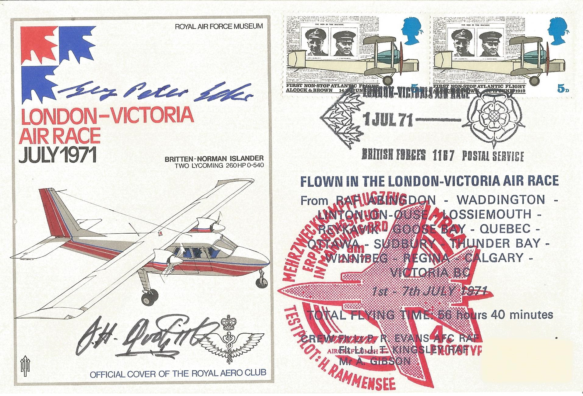 Lot 63 - Gen Jimmy Doolittle and Georg Peter Eder signed 1971 London Victoria Air Race cover. Good