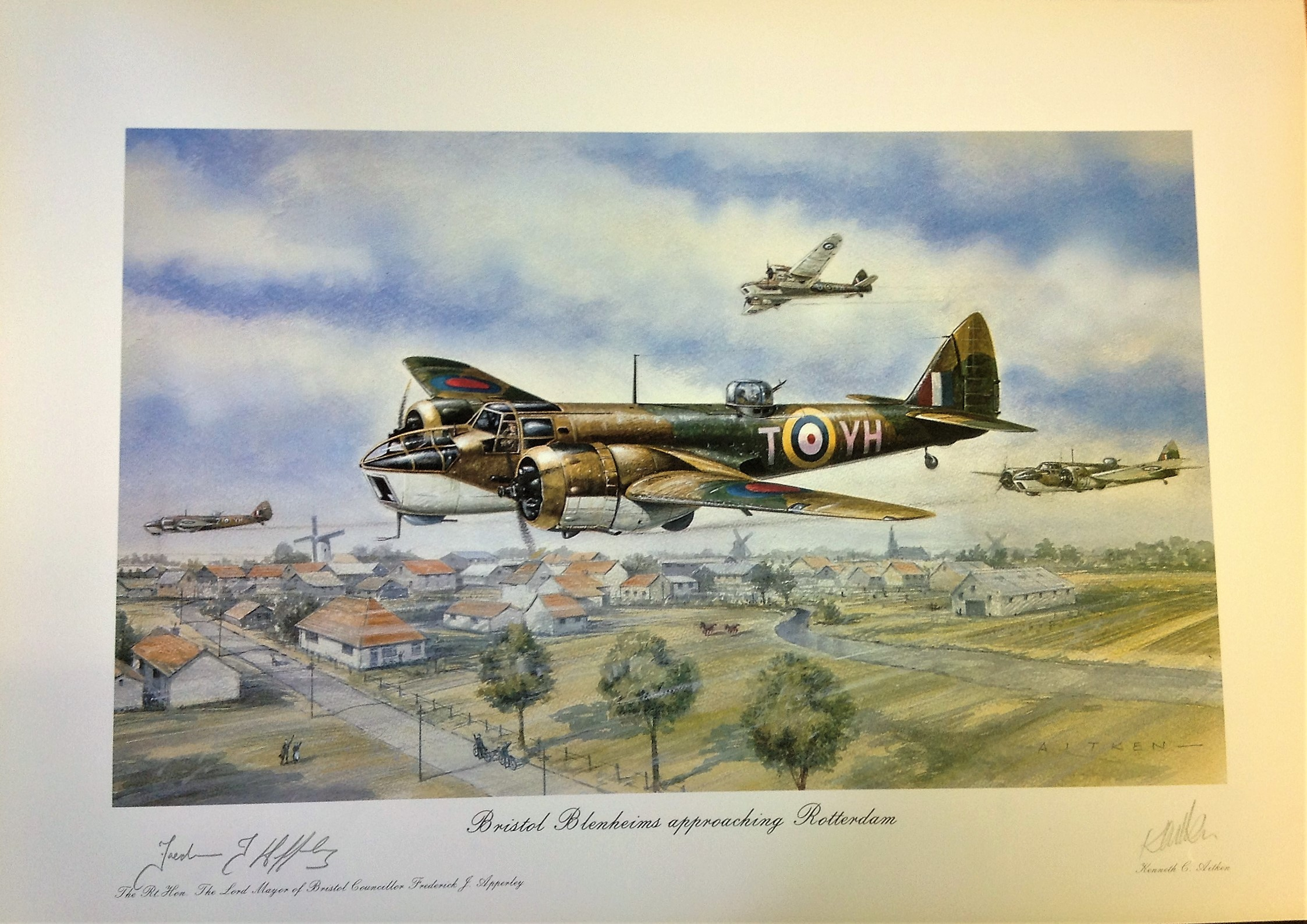Lot 120 - World War Two print approx 24x20 titled Bristol Blenheims approaching Rotterdam by the artist