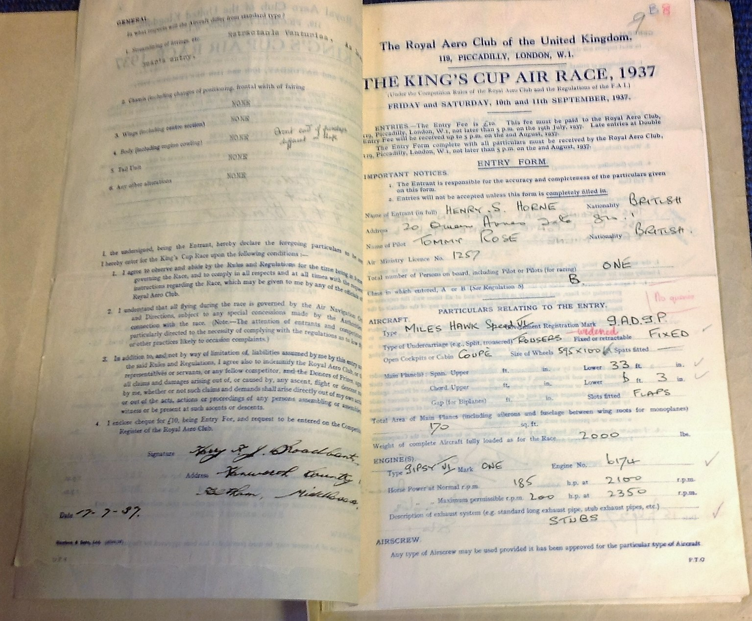 Lot 46 - 1937 Kings Cup Air Race Archive. Historic collection complete set of Competition entry forms