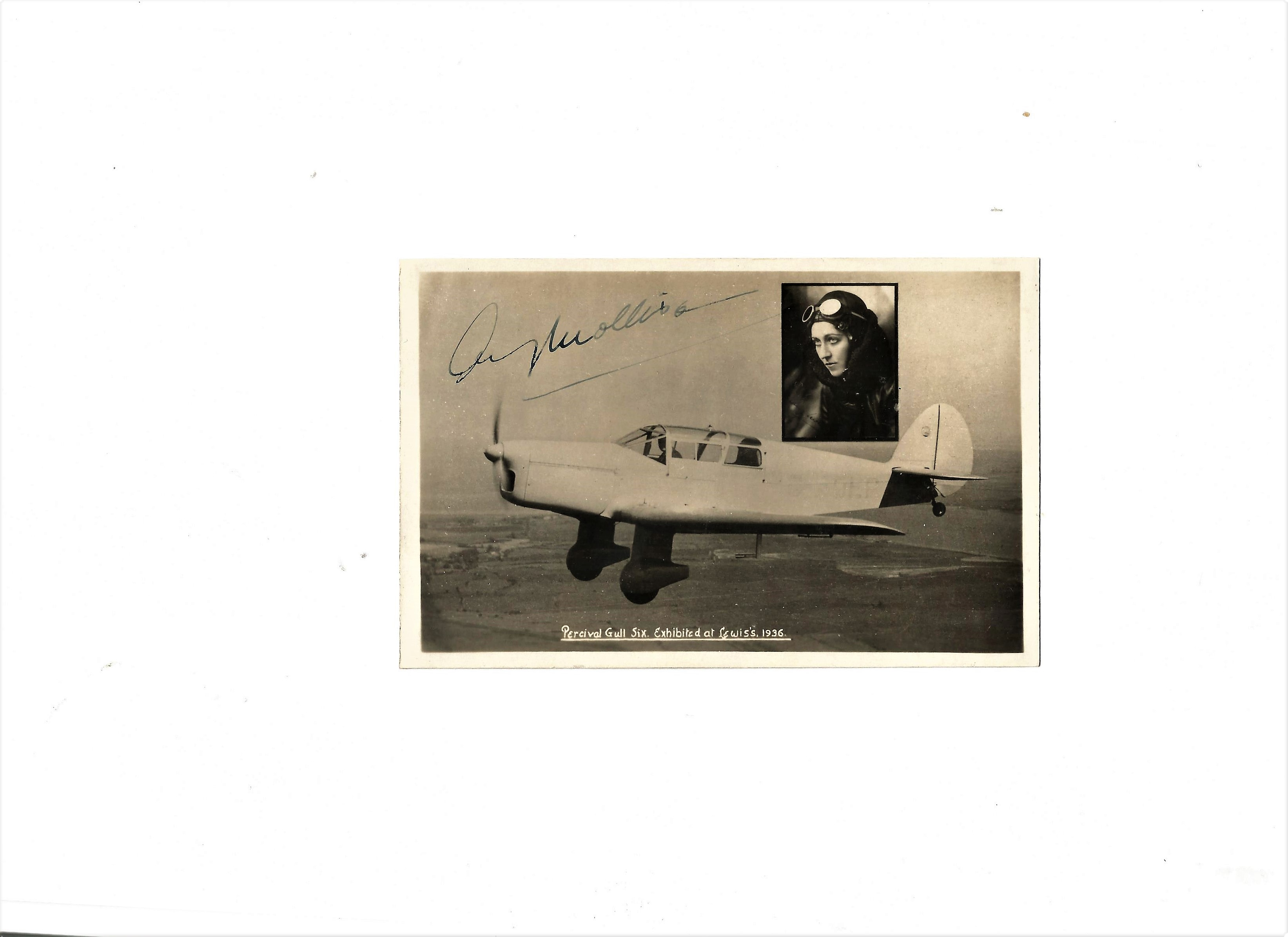 Lot 38 - Aviation Amy Johnson vintage post card photo signed 'Amy Mollison' with a picture of the Percival