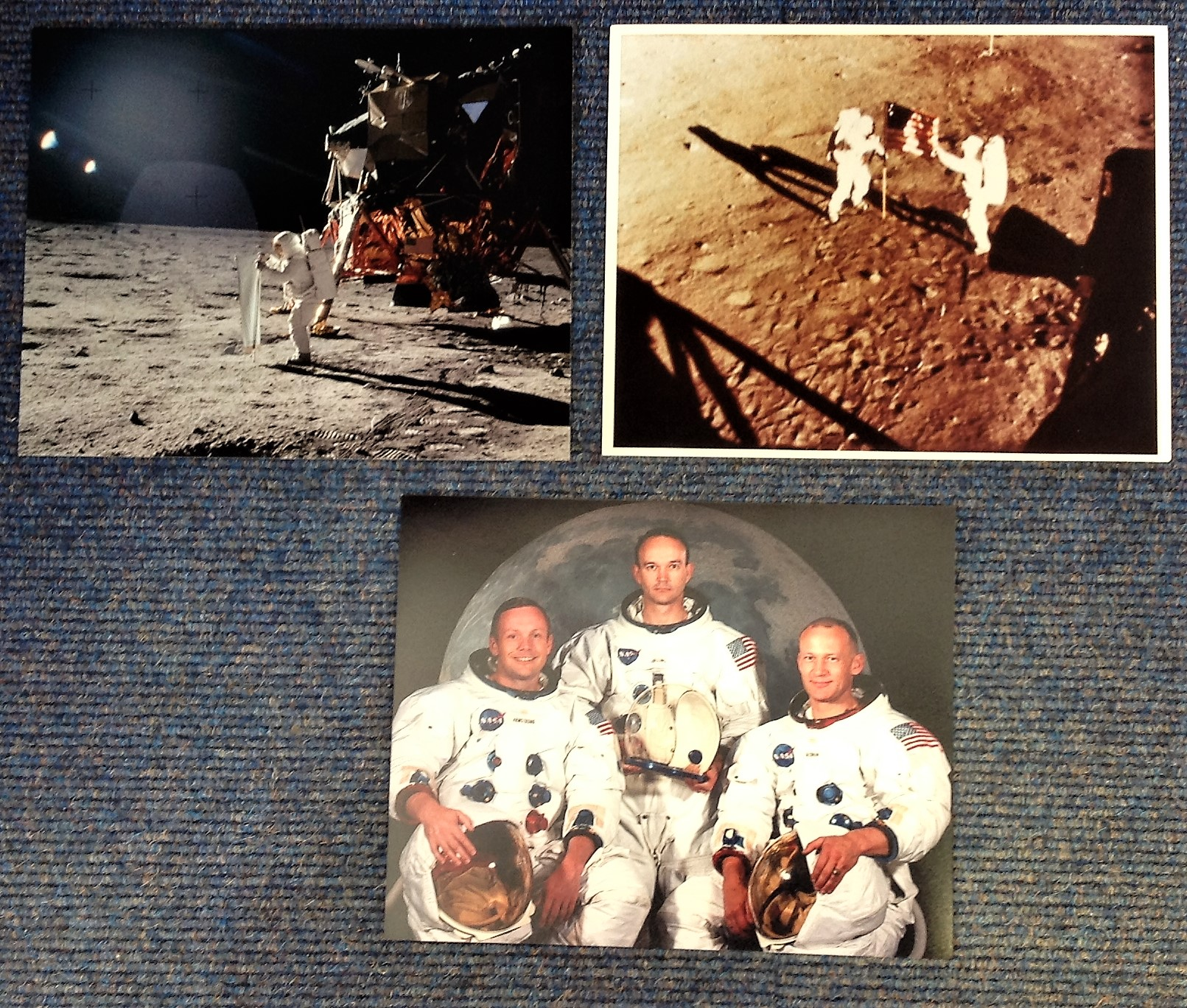 Lot 7 - Space collection includes 3, 10x8 colour photos pictured includes The Apollo II crew, Neil Armstrong