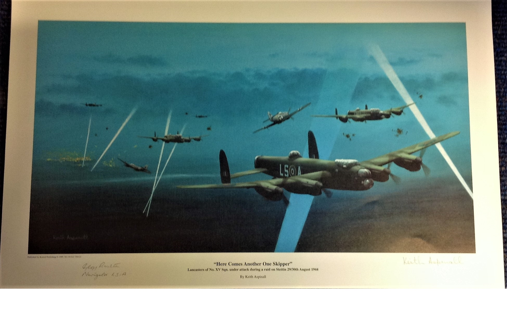 """Lot 112 - World War Two 12x18 print titled """"Here Comes Another One Skipper """" by the artist Keith Aspinall"""