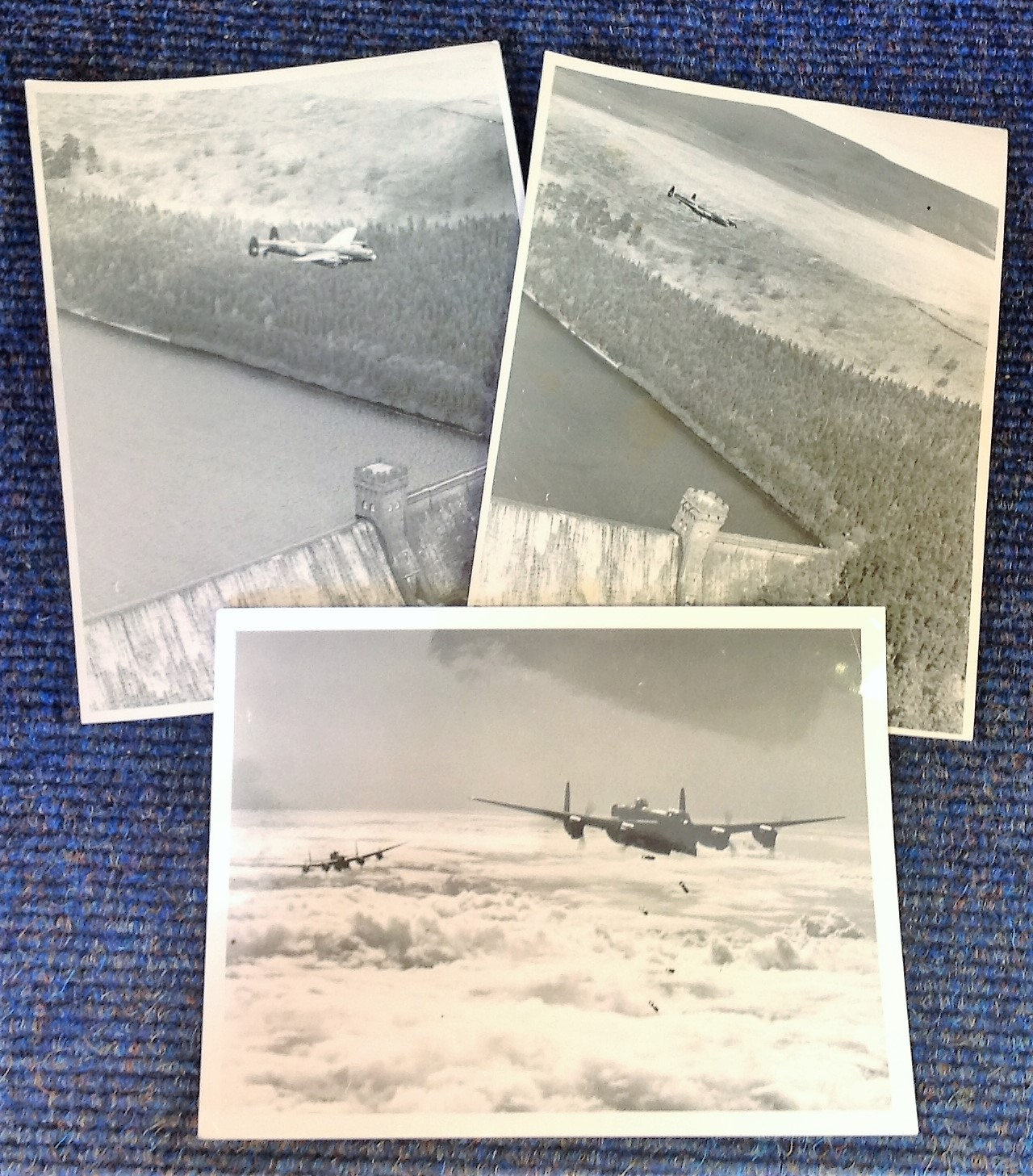 Lot 23 - World War Two collection three 7x9 b/w photos picturing Lancasters on training runs during World War