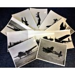 Lot 20 - World War Two ten 7x9 vintage b/w photos Avro Lancaster bomber pictured during World War Two. Good