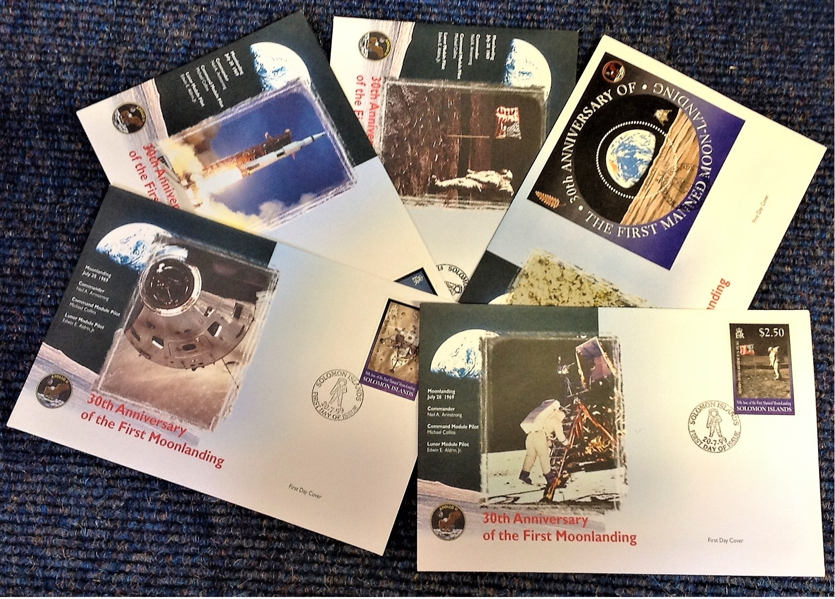 Lot 2 - Space FDC collection 5 superb 30th Anniversary of the Apollo II First Moonlanding commemorative