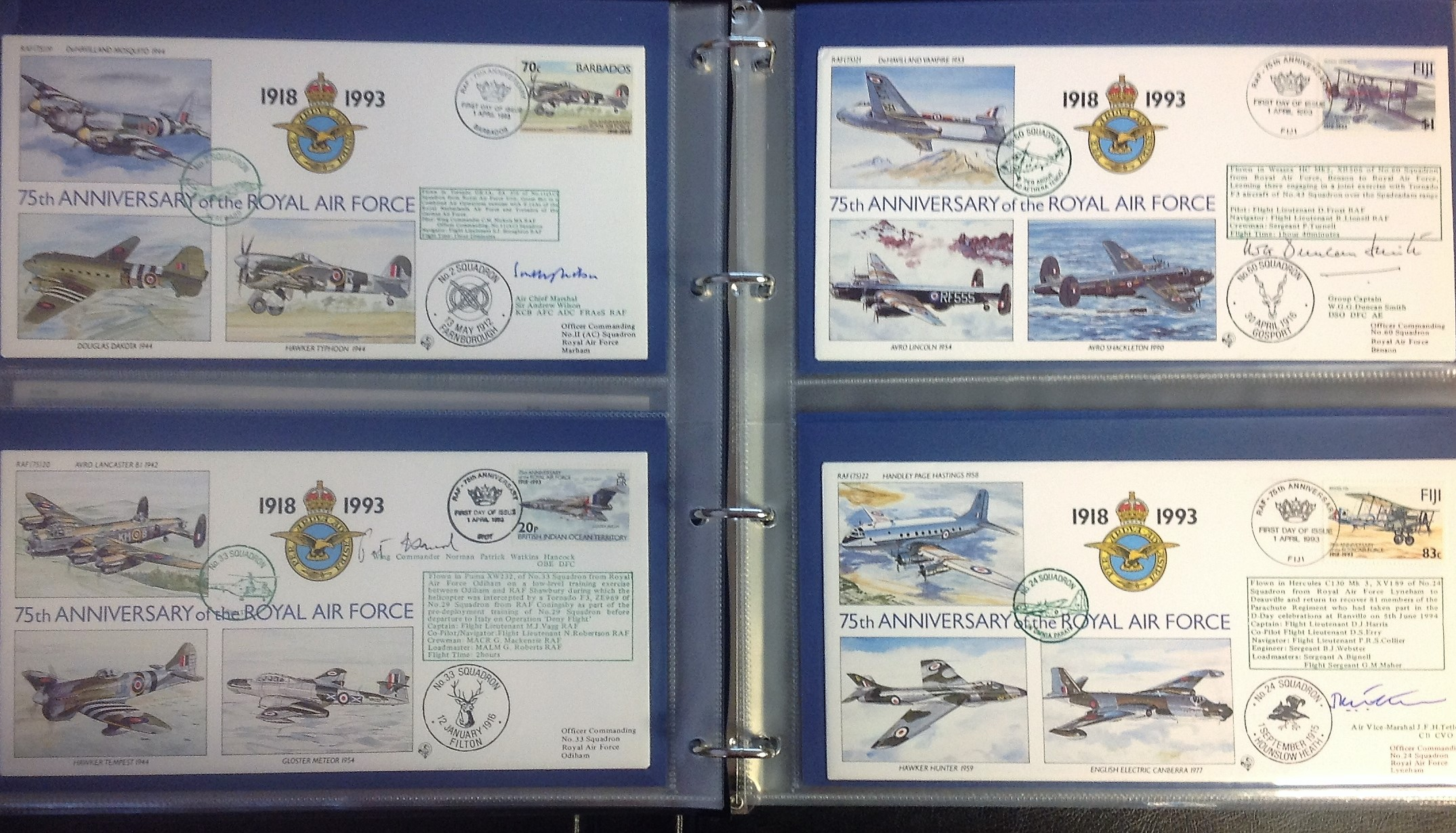 Lot 13 - 75th Ann RAF VIP signed collection. Complete set of the 30 covers in an Album. Covers are all