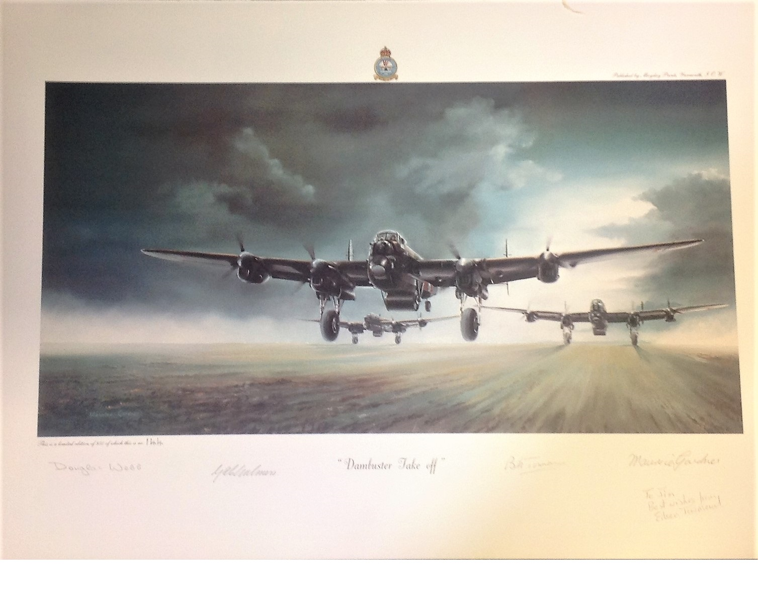 Lot 111 - World war Two print 14x20 from Bill Townsend collection titled Dambusters Take Off by the artist