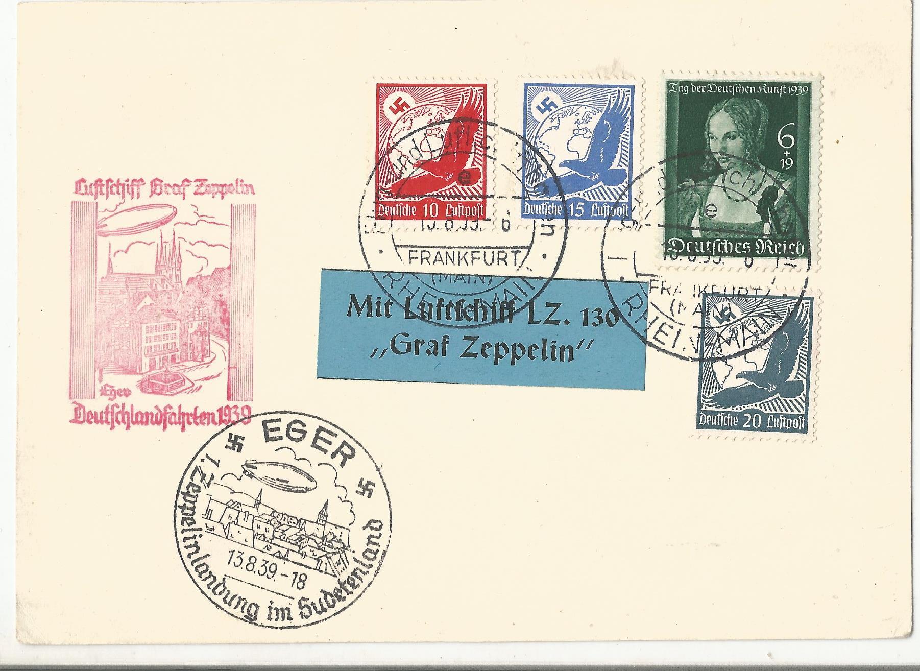 Lot 55 - 1939 LZ130 Graf Zeppelin flown cover Frankfurt postmarks and Eger Czech Republic mark. With LZ130.