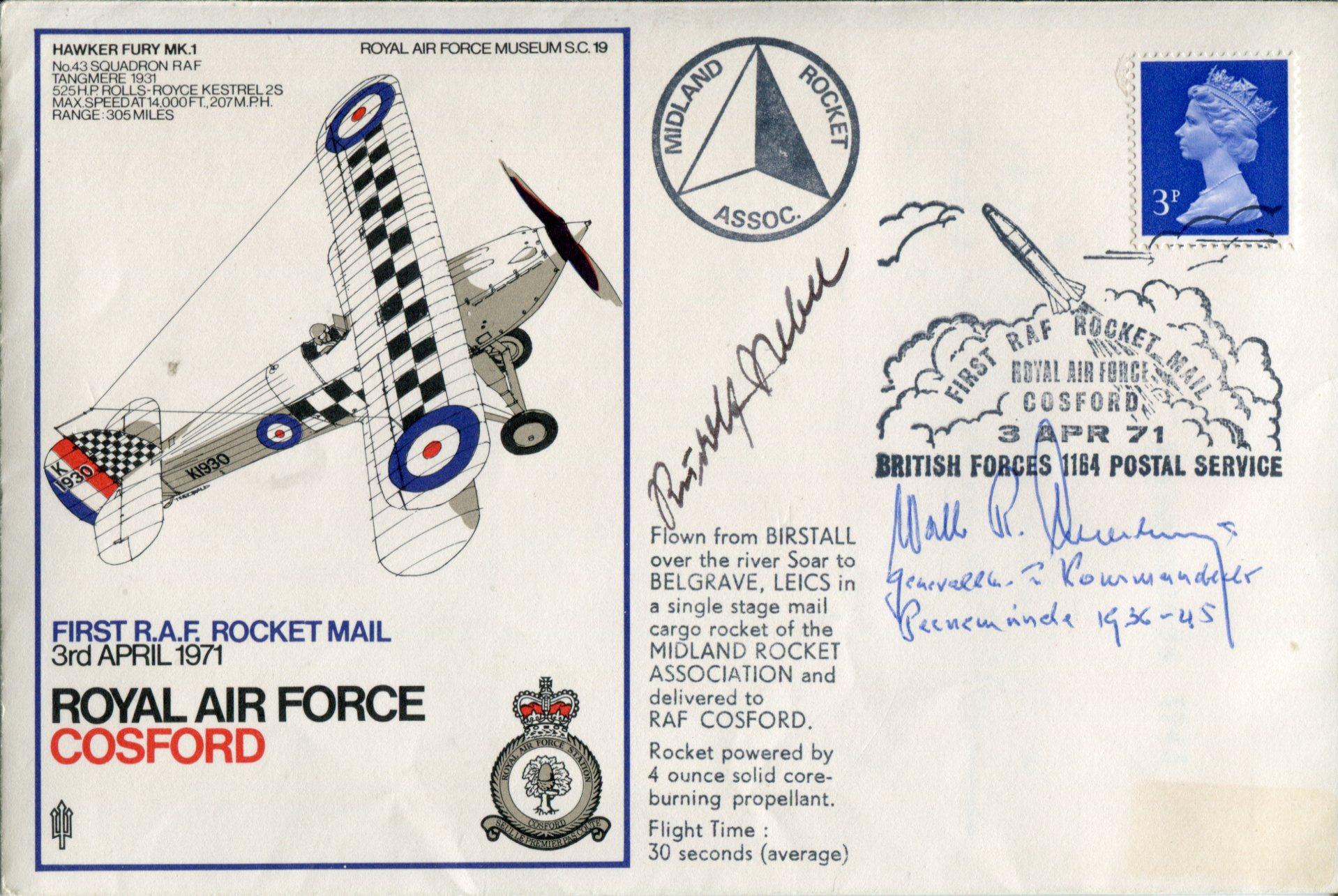 Lot 26 - Peenemunde Base Commander RAF Cosford cover signed by General Walter Dornberger commanding officer