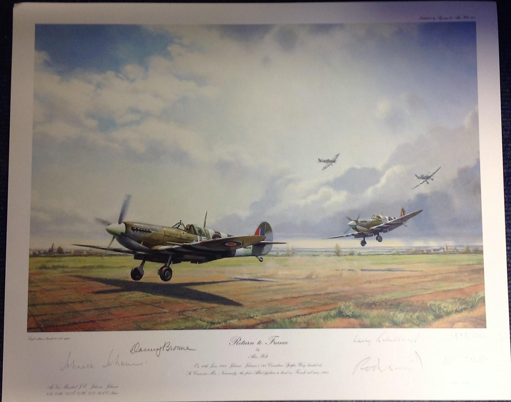 Lot 108 - World War Two print approx 18x20 titled RETURN TO FRANCE by the artist Alan Holt signed in pencil by