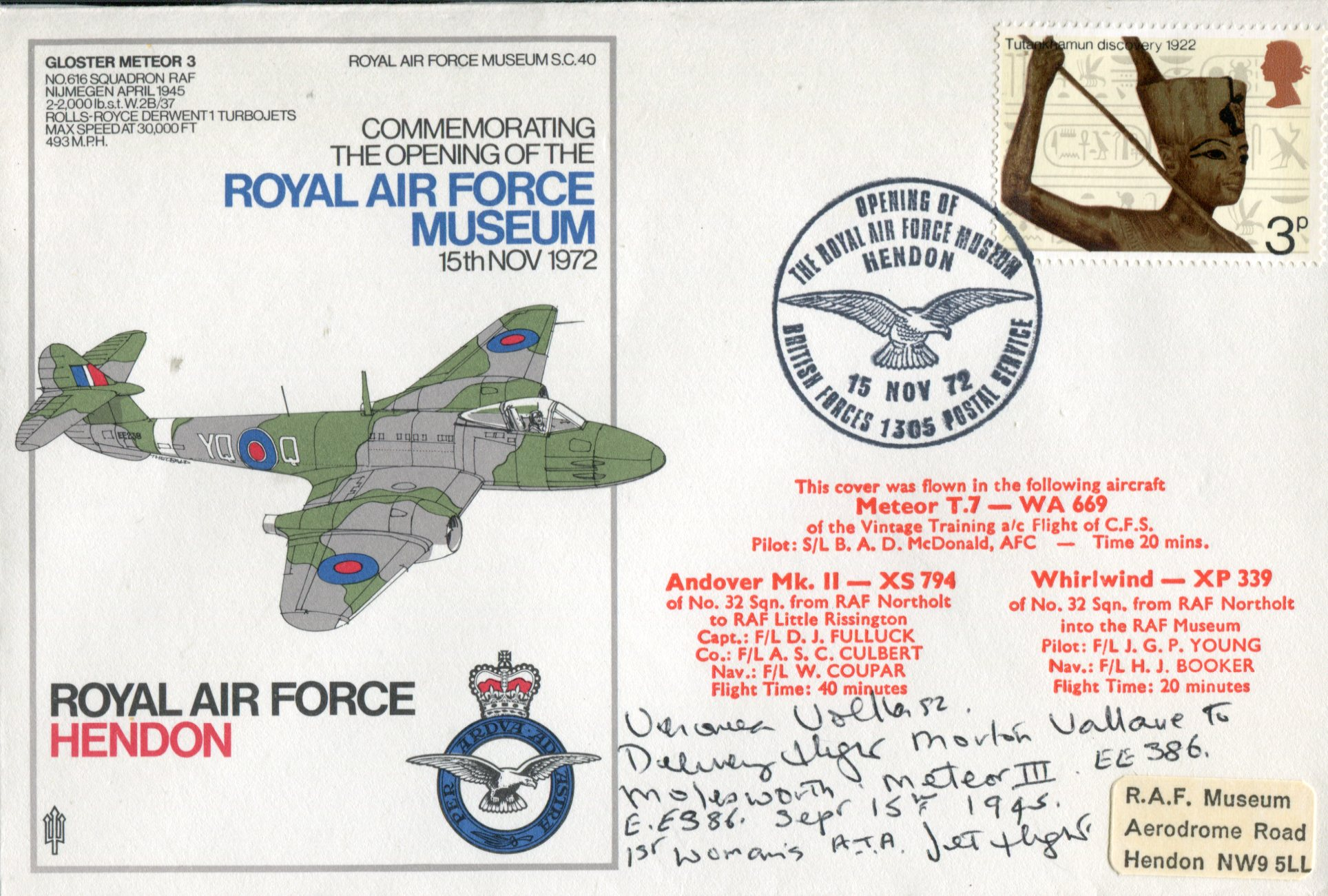 Lot 29 - First ATA Pilot RAF Hendon Gloster Meteor cover signed by Veronica Volkersz who was the first female