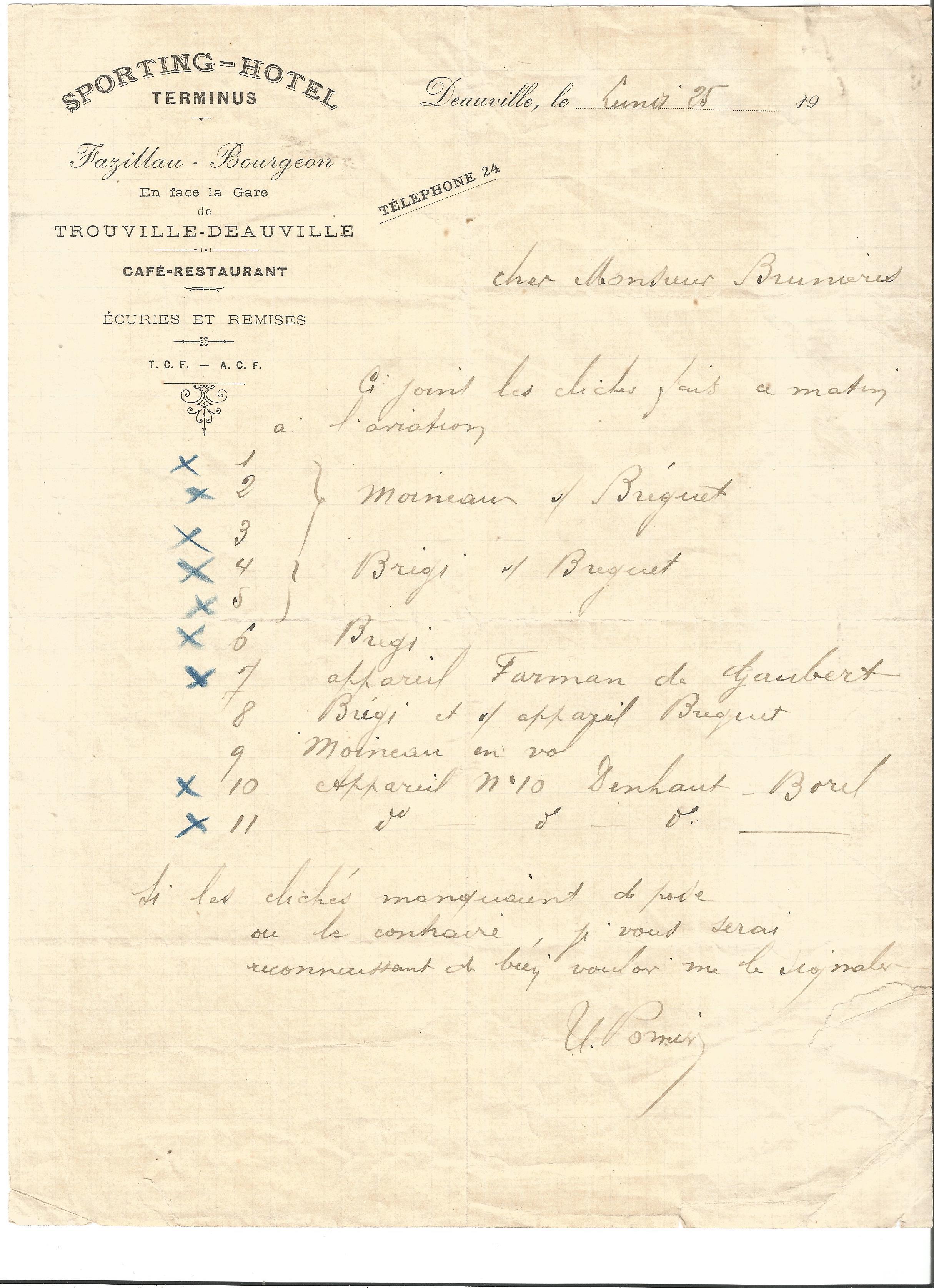 Lot 54 - Great War Sporting Hotel Trouville hand written dinner menu. Good condition Est.