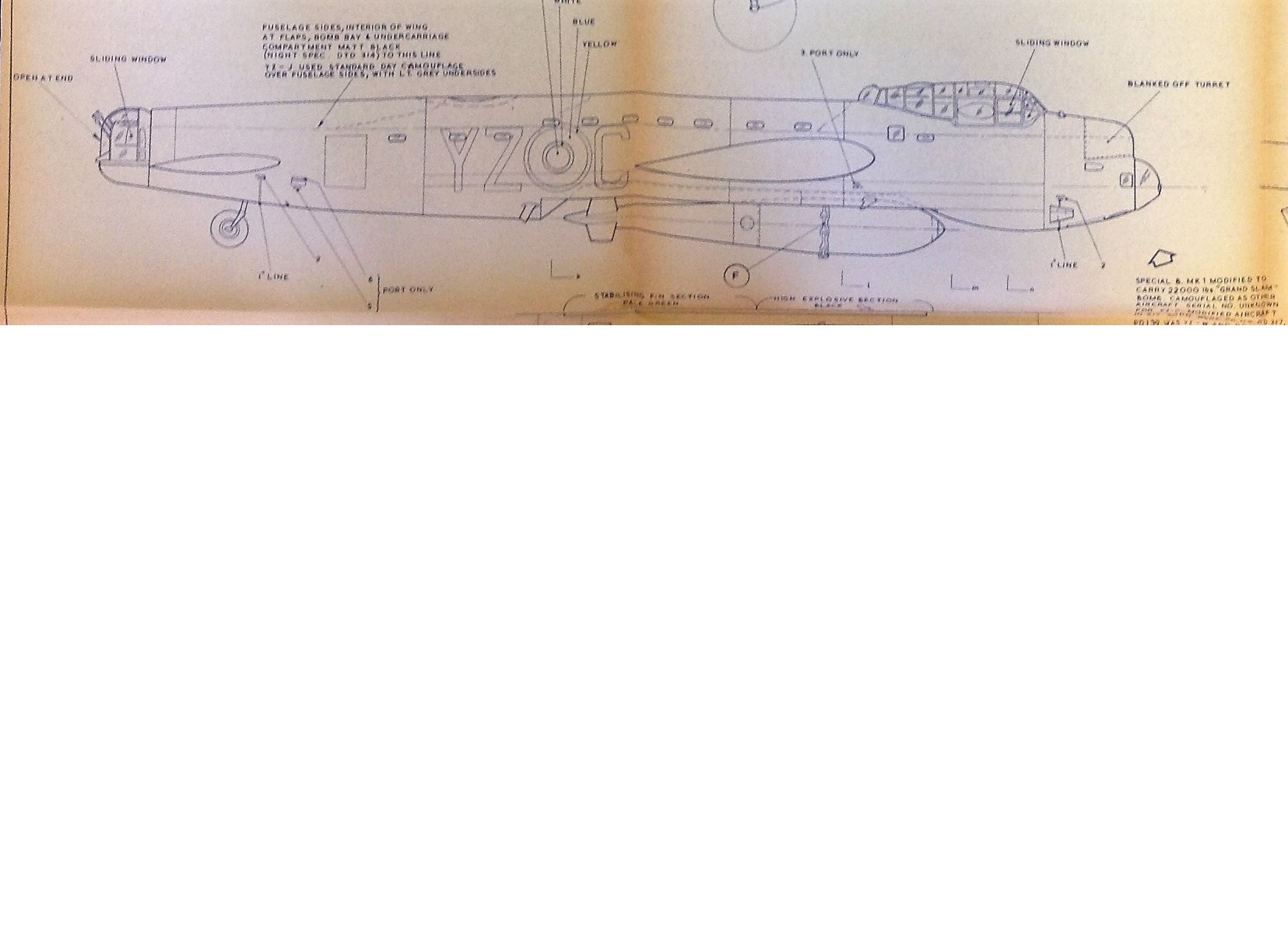 Lot 39 - World War Two Avro Lancaster Bomber MK1 Spec detailed drawings of the iconic world war Two bomber.