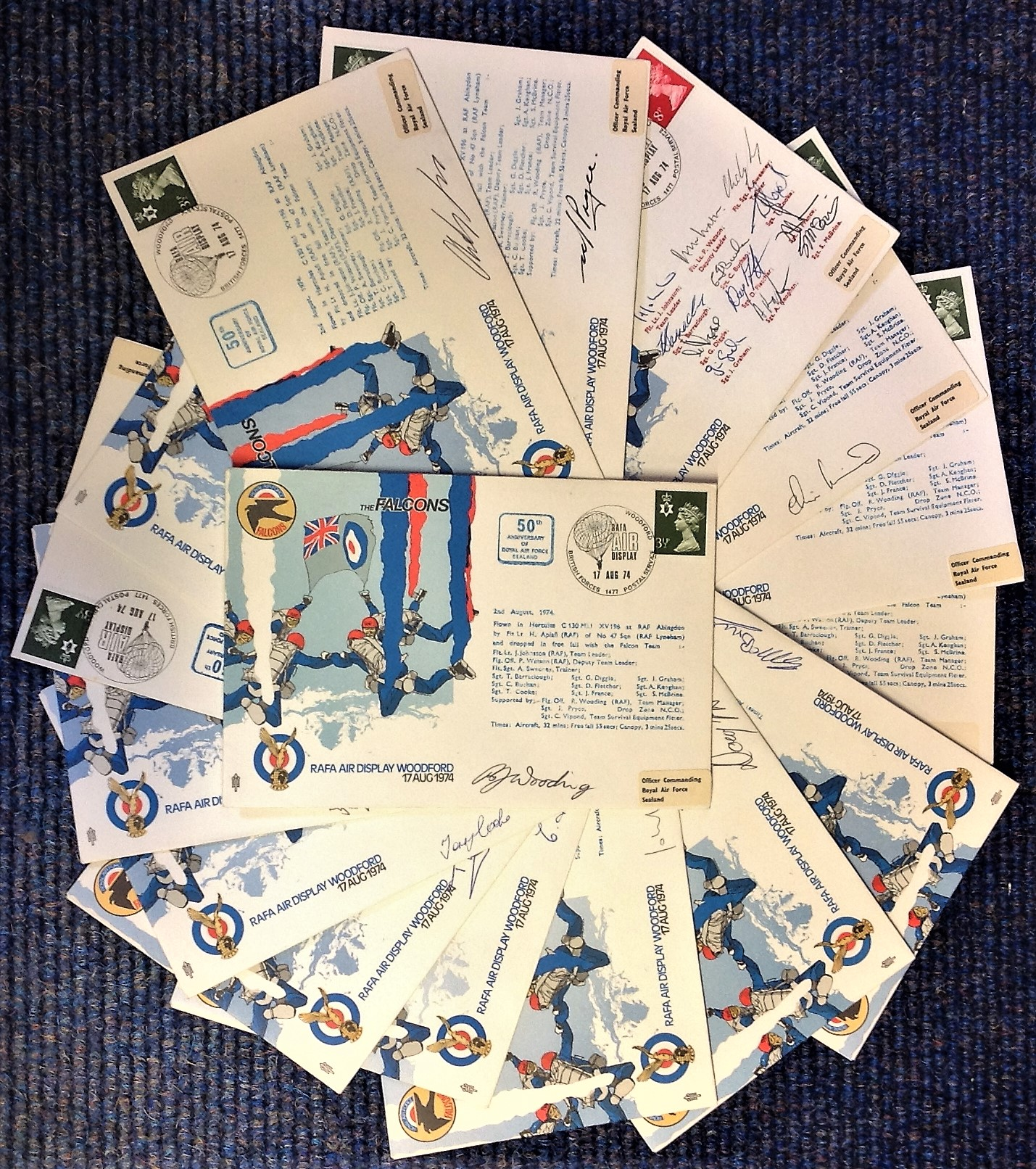Lot 1 - RAF FDC collection 16 signed commemorative covers Raf Falcons Parachute Air Display Team 50th
