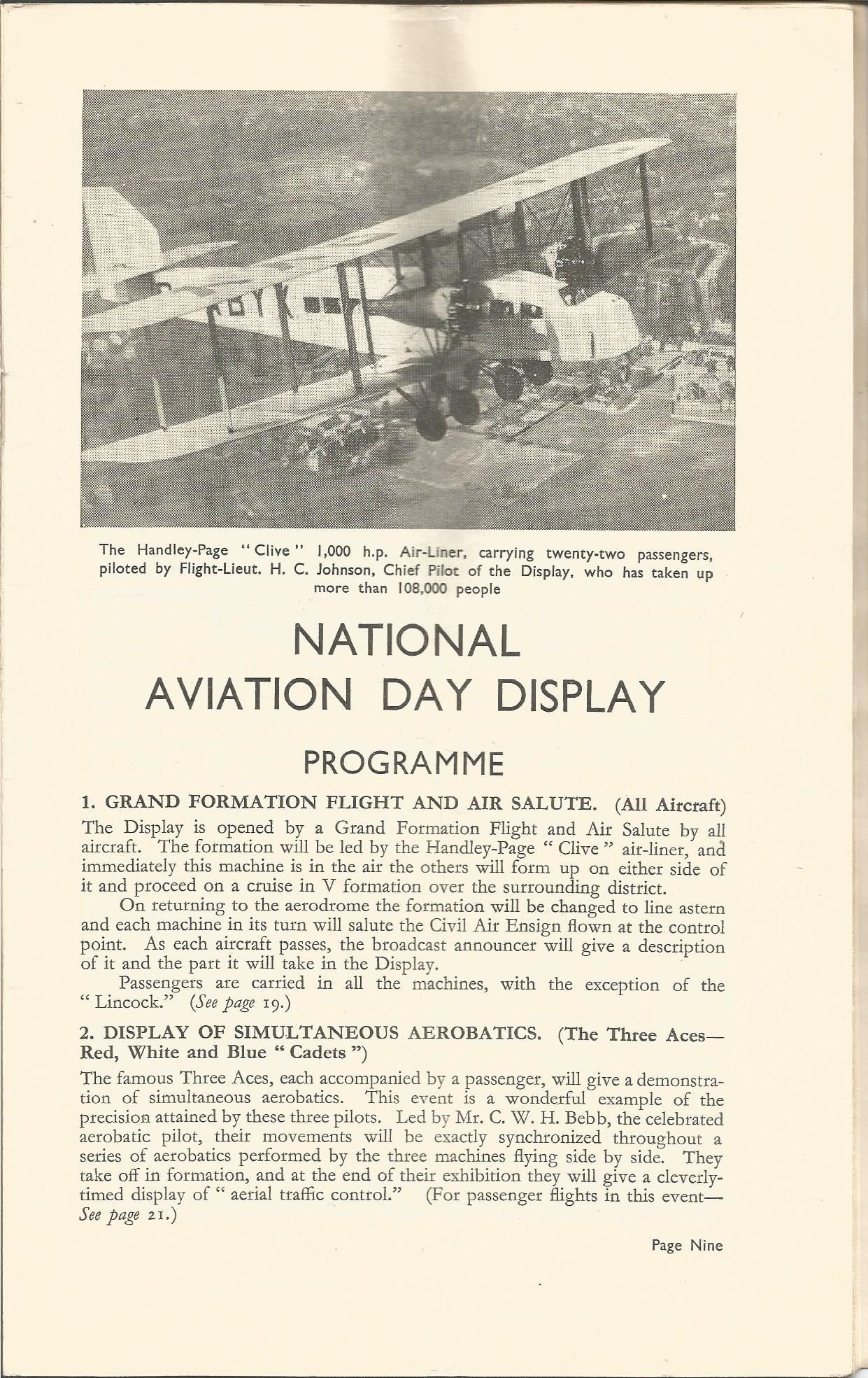 Lot 50 - 1934 Alan Cobham National Aviation Day Programme. Good condition Est.