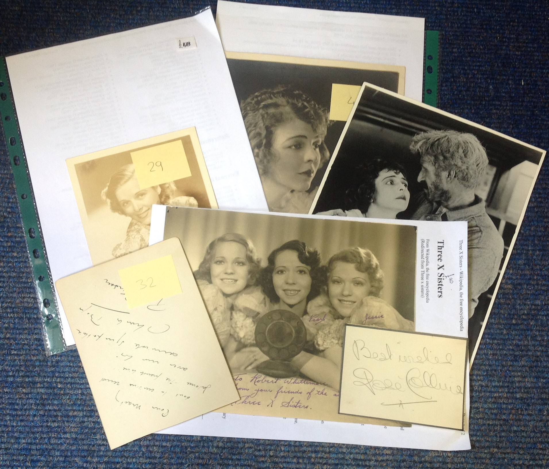 Lot 6 - Vintage TV/film signed collection. 5 items. Signatures include Helene Chadwick, Jose Collins, Pat