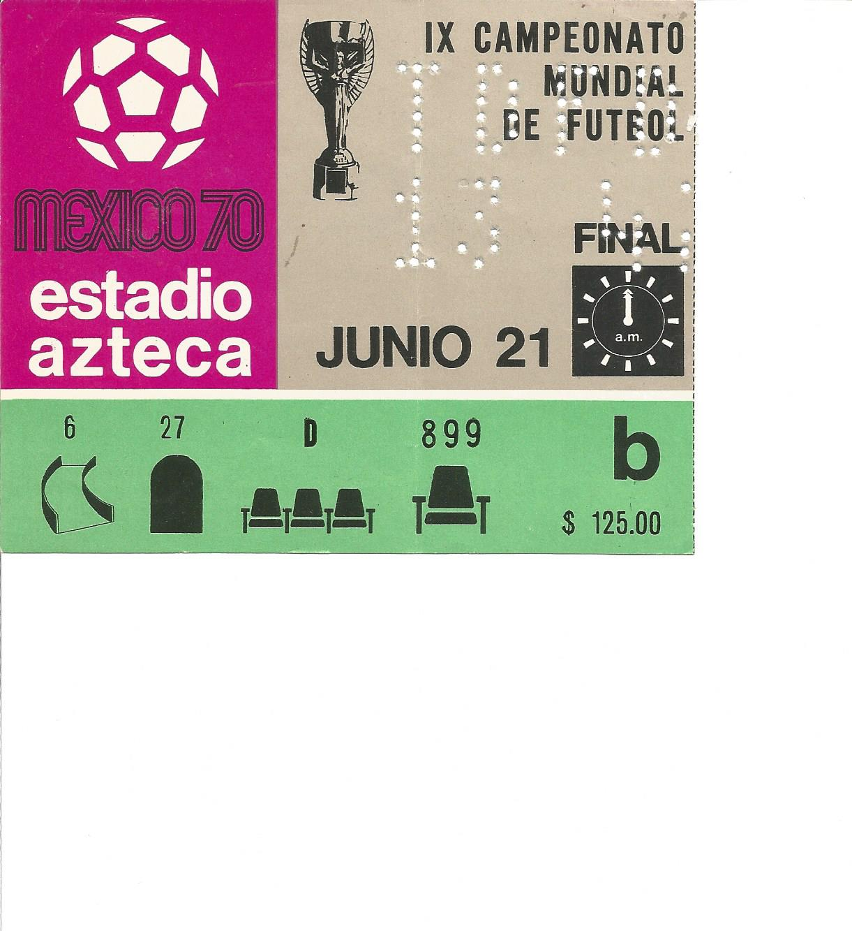 Lot 48 - Football Mexico 1970 World Cup Final match ticket Brazil v Italy 21st June 1970 very rare. Good