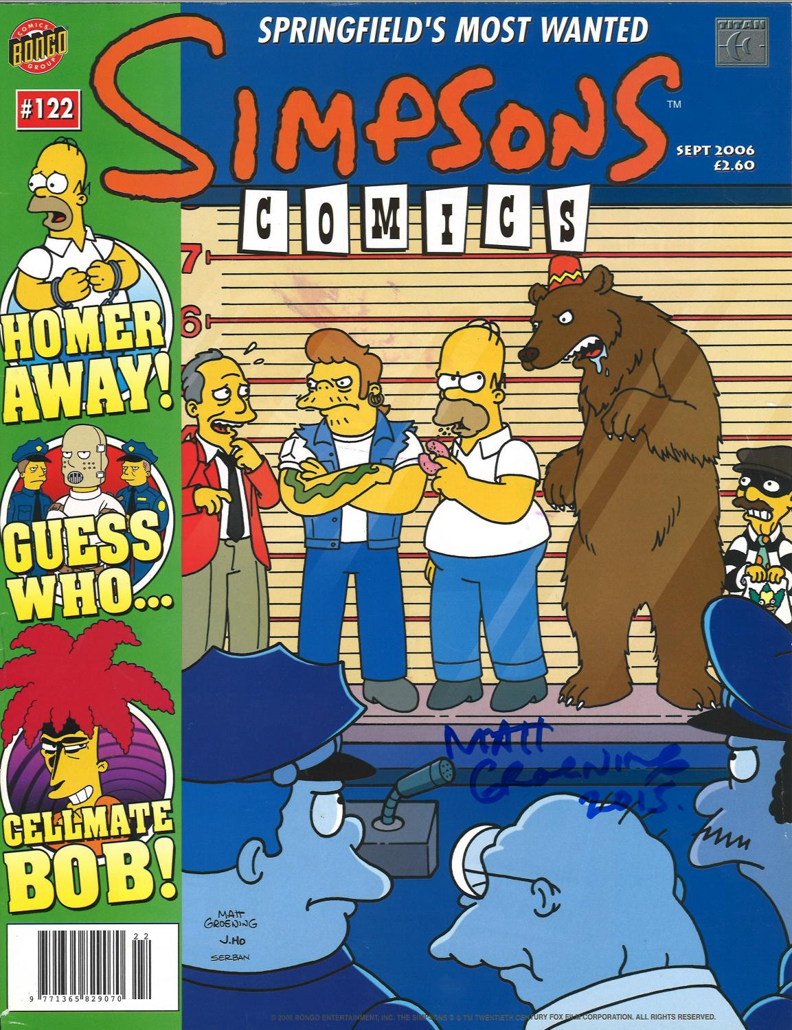 Lot 59 - Matt Groening signed Simpsons comic no 122. Signed on front cover. Good Condition. All signed pieces