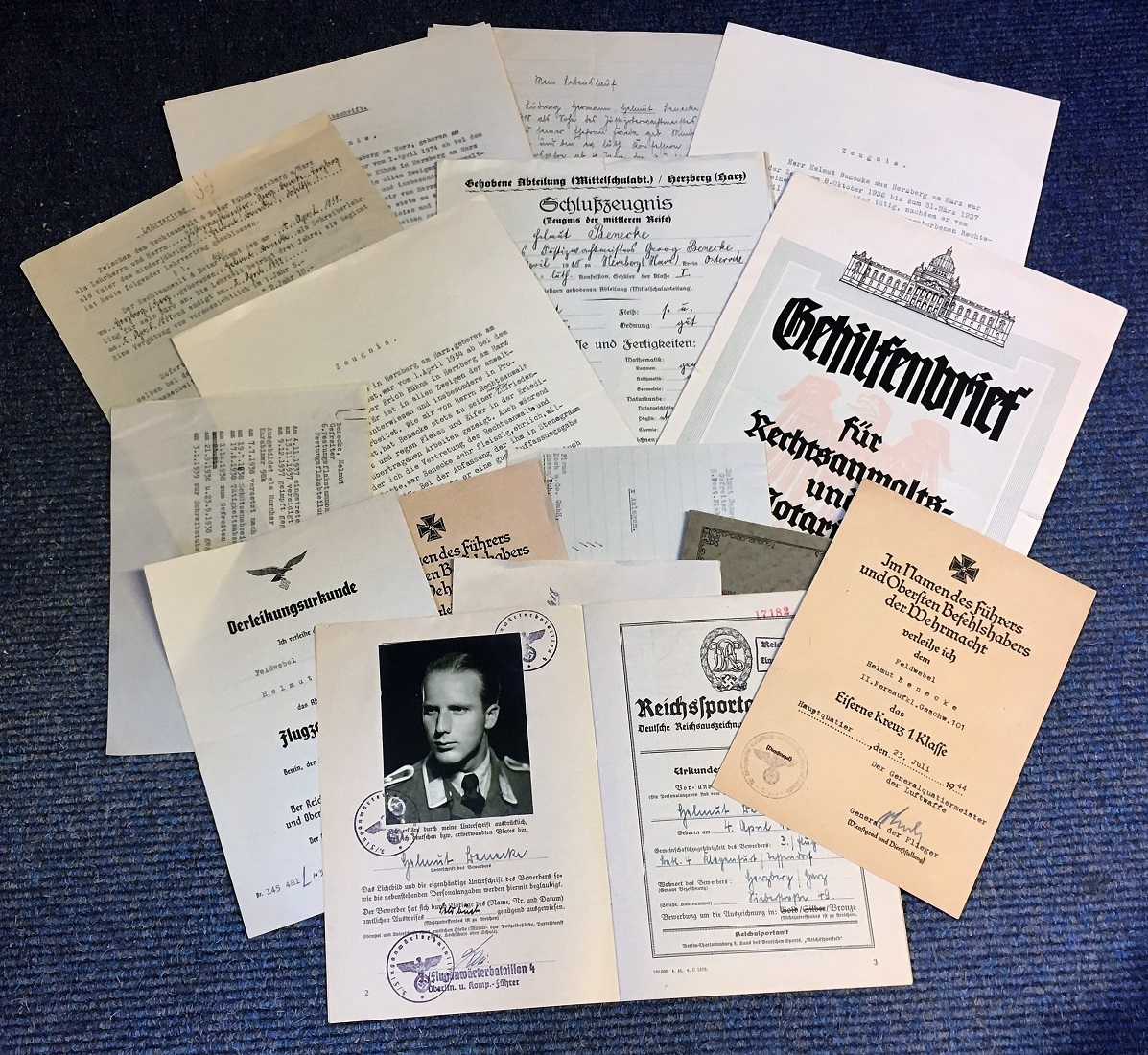 Lot 52 - WW2 German KIA Luftwaffe collection. Fine set of 16 documents and two decorations for Wachtmeister