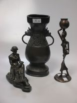 Lot 36 - Oriental bronze vase, a seated classical figure & another (3)