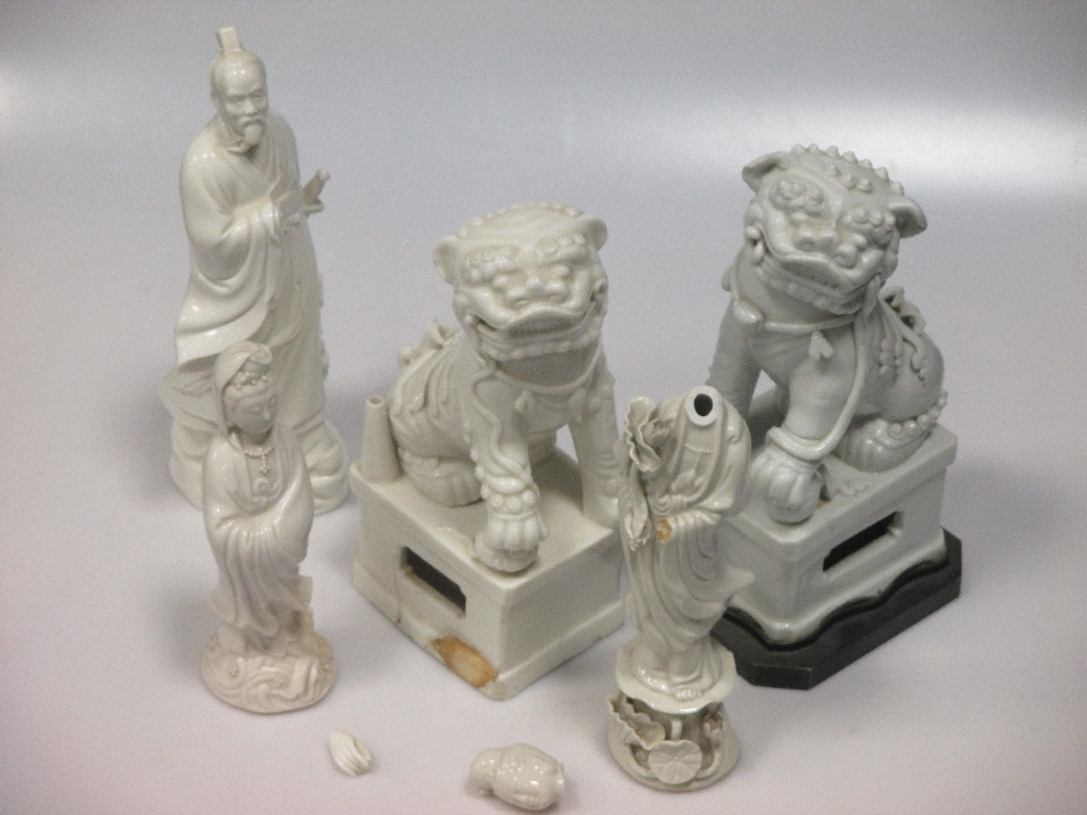 Lot 33 - A pair of Blanc de Chine, dog of fo and six other figures (8)