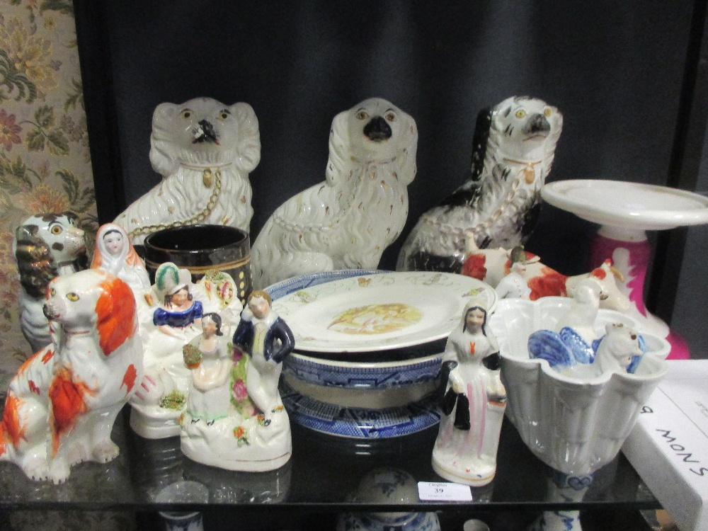 Lot 39 - Various 19th century Staffordshire figurines etc