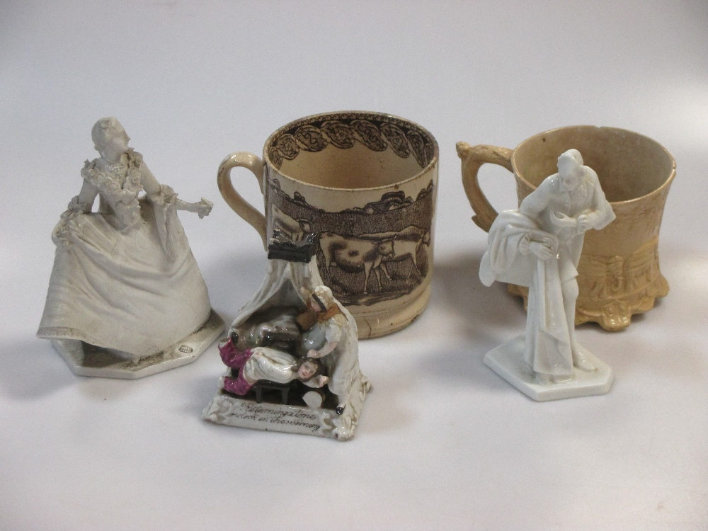 Lot 24 - A Pratt ware jug, an 18th century creamware printed coffee pot (lacking cover), Continental white