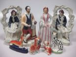 Lot 20 - A collection of Staffordshire figures to include Shakespeare, Princess Alexandra of Denmark, a