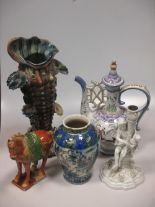 Lot 23 - A Persian vase, a Portuguese Persian style ewer, a Sitzendorf white glazed figural candlesticks,