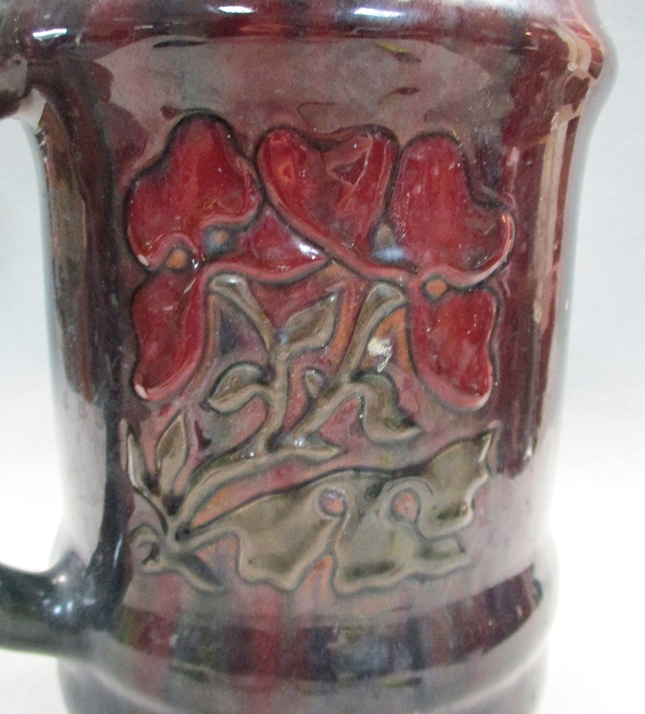 Lot 2 - A large Elton Ware Clevedon Tyg, decorated in relief with floral panels and the town name, painted