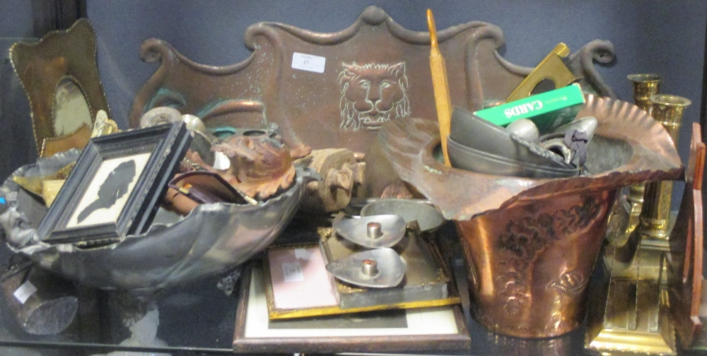 Lot 27 - An Arts & Crafts copper pipe holder, various items of brassware to include candlesticks and
