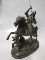 Lot 31 - A pair of spelter Marly horses, various brassware, and other ornaments