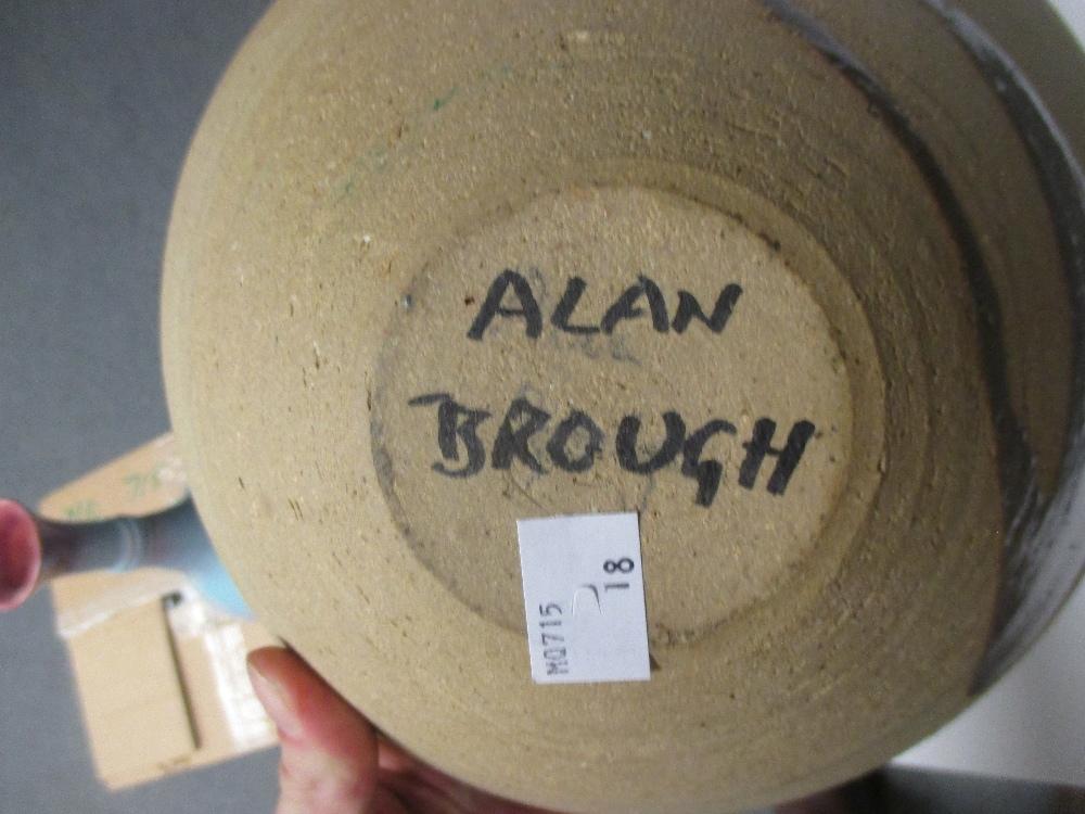 Lot 43 - An Alan Brough bowl, a Littlehampton Sussex pottery vase, Bourne Denby vase, a studio pottery yellow