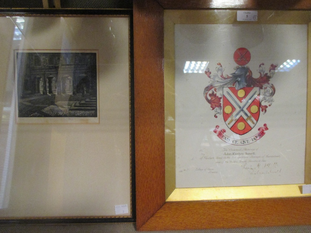 Lot 5 - A Grant of Arms dated 1919 to John Evelyn Ansell, boxed, with framed crest; John Greenwood,