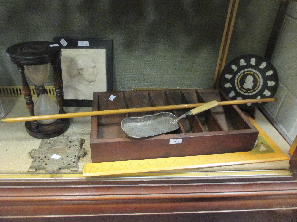 Lot 22 - Two wooden measures or rules, Wedgwood commemorative plate, crumb scoop, etc