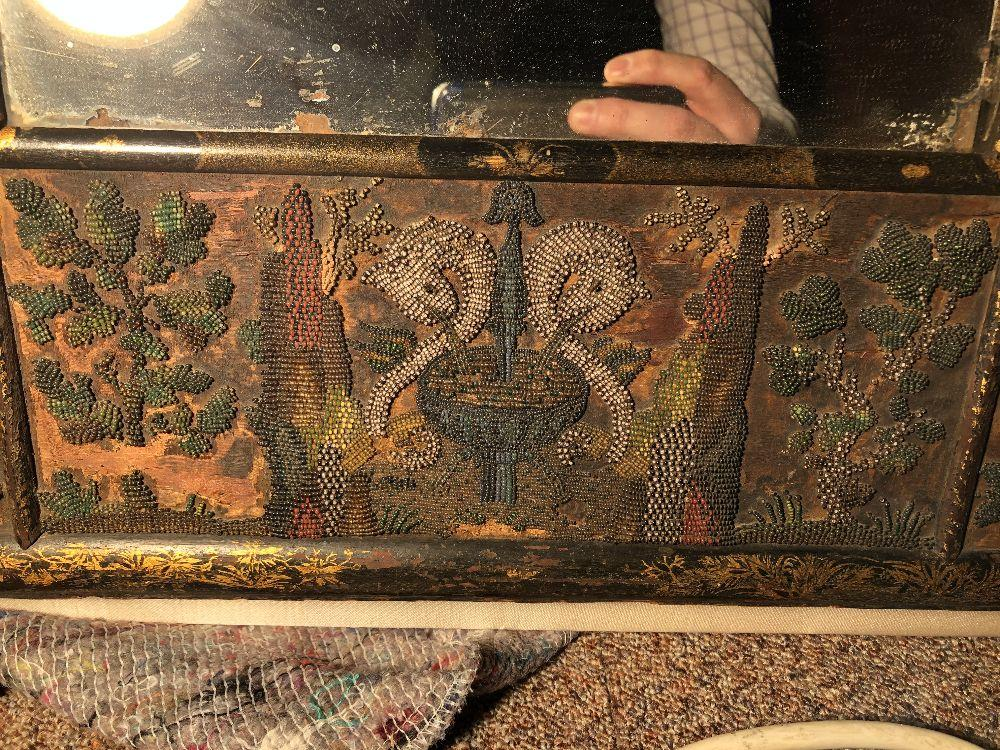 A Charles II beadwork mirror frame, of arched outline, the rectangular mirror plate enclosed by a - Image 8 of 13
