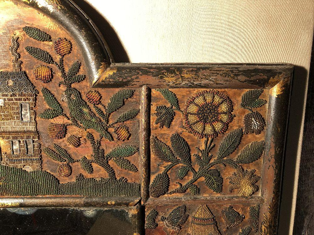 A Charles II beadwork mirror frame, of arched outline, the rectangular mirror plate enclosed by a - Image 4 of 13